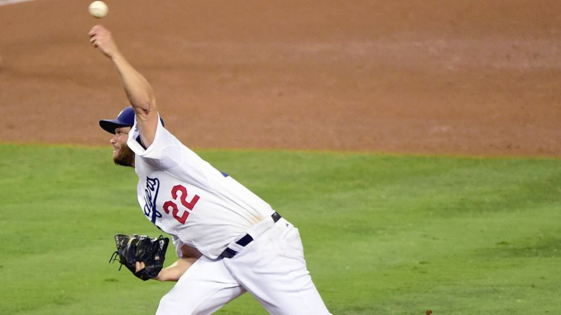 LOS ANGELES, CA - SEPTEMBER 02: Clayton Kershaw #22 of the Los Angeles Dodgers pitches in the ninth inning to a complete game 2-1 victory over the San Francisco Giants at Dodger Stadium on September 2, 2015 in Los Angeles, California. (Photo by Harry How/Getty Images)
