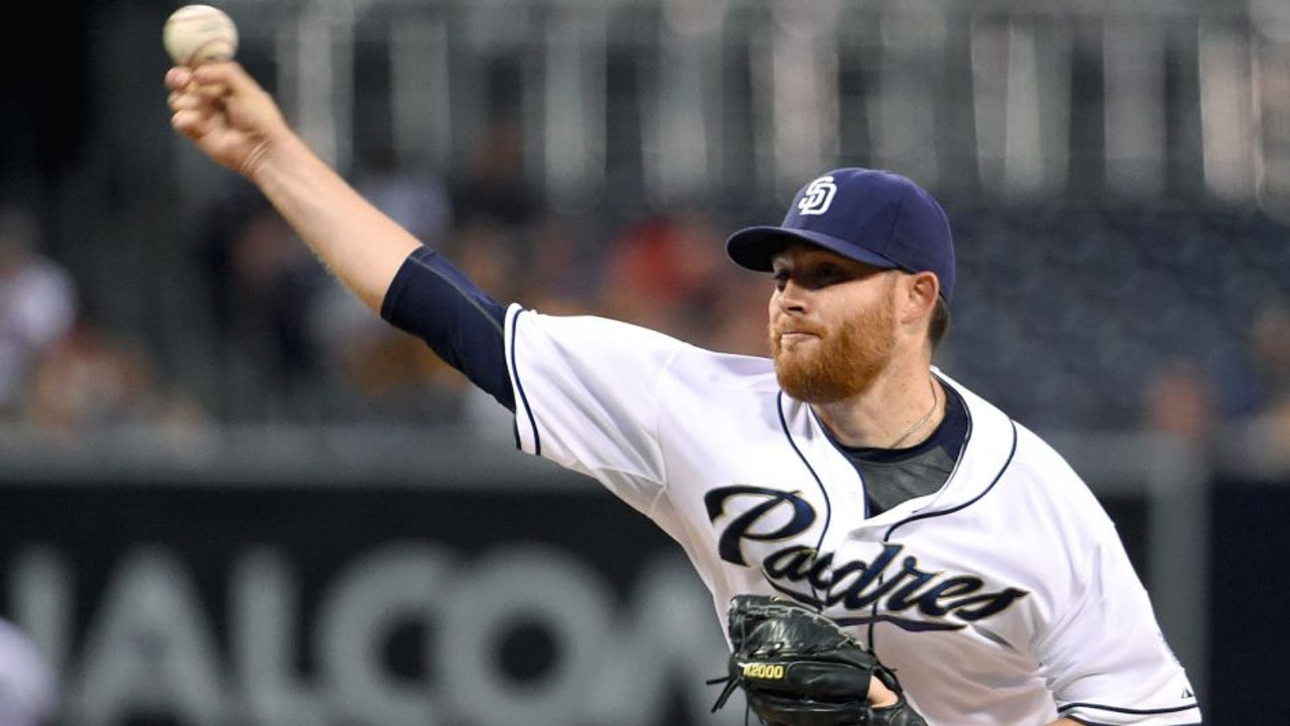 SAN DIEGO, CA - SEPTEMBER 2: Ian Kennedy #22 of the San Diego Padres pitches during the first inning of a baseball game against the Texas Rangers at Petco Park September, 2, 2015 in San Diego, California. (Photo by Denis Poroy/Getty Images)