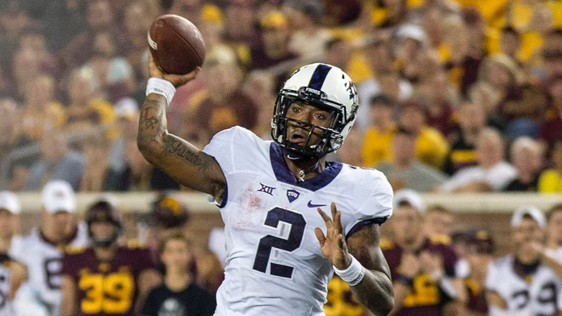 Sep 3, 2015; Minneapolis, MN, USA; TCU Horned Frogs quarterback Trevone Boykin (2) drops back for a pass in the first half against the Minnesota Golden Gophers at TCF Bank Stadium. Mandatory Credit: Jesse Johnson-USA TODAY Sports