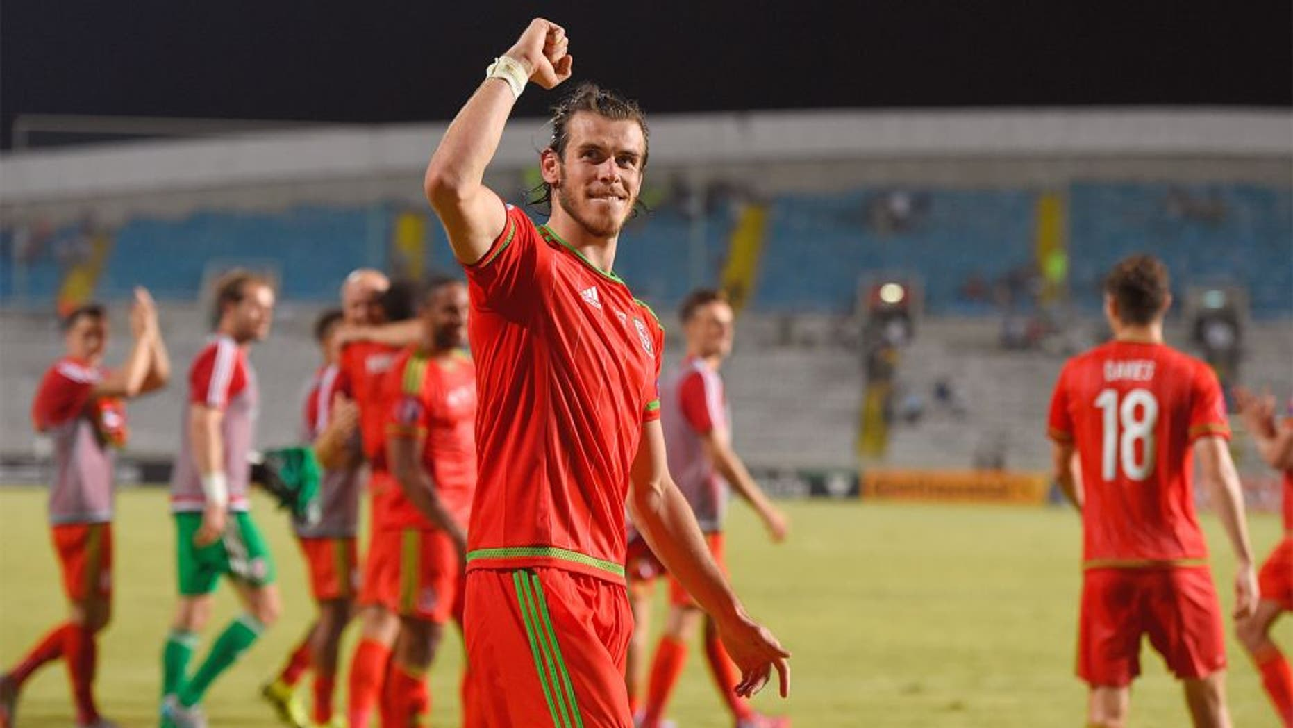 NICOSIA, CYPRUS - SEPTEMBER 03: Wales striker Gareth Bale celebrates after the UEFA EURO 2016 Qualifier between Cyprus and Wales at GPS Stadium on September 3, 2015 in Nicosia, Cyprus. (Photo by Stu Forster/Getty Images)