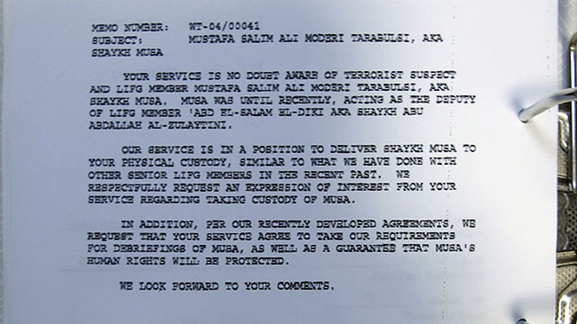 "September 3: This image provided by Human Rights Watch on Saturday, Sept. 3, 2011, shows a secret document dated April 15, 2004 discovered by Human Rights Watch in Tripoli, Libya, detailing a request for Libya to take custody of a terrorist suspect known as ""Shaykh Musa."""
