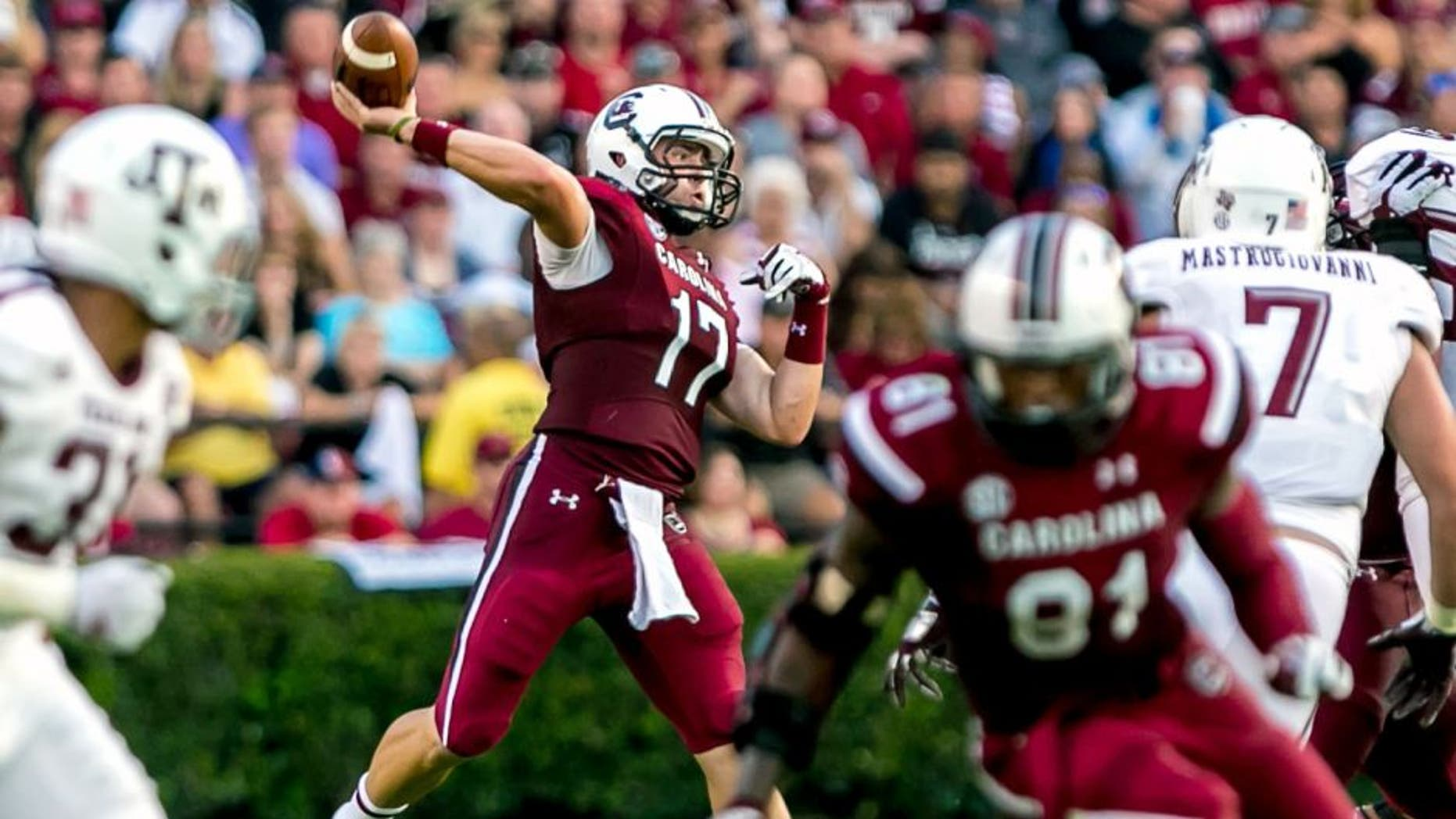 Aug 28, 2014; Columbia, SC, USA; South Carolina Gamecocks quarterback Dylan Thompson (17) passes against the Texas A&M Aggies in the second quarter at Williams-Brice Stadium. Mandatory Credit: Jeff Blake-USA TODAY Sports