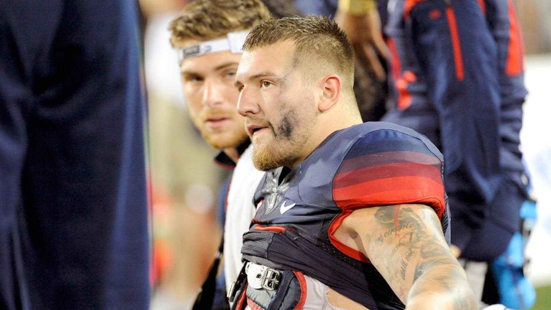 Sep 3, 2015; Tucson, AZ, USA; Arizona Wildcats linebacker Scooby Wright III (33) sits on the bench after coming out of the game during the second quarter against the Texas-San Antonio Roadrunners at Arizona Stadium. Mandatory Credit: Casey Sapio-USA TODAY Sports
