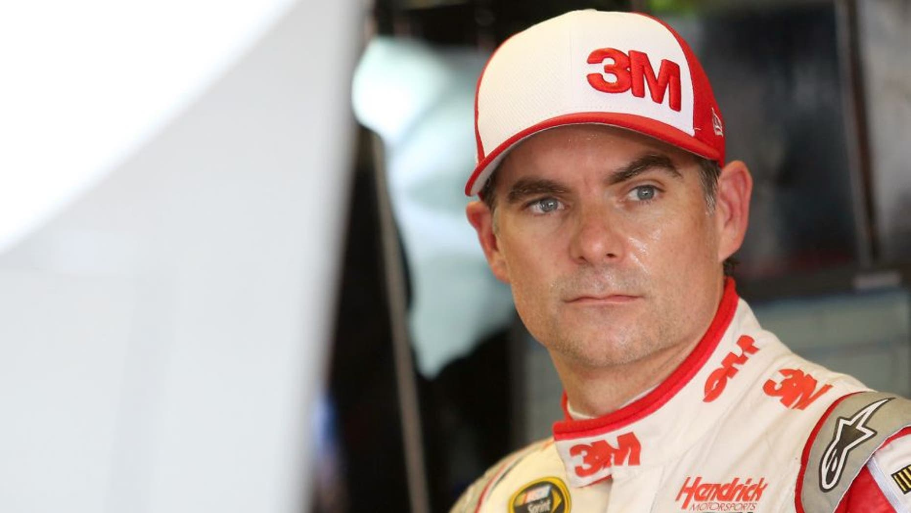 Jeff Gordon, driver of the #24 3M Chevrolet, stands in the garage area during practice for the NASCAR Sprint Cup Series Bojangles' Southern 500 at Darlington Raceway on September 4, 2015 in Darlington, South Carolina. (Photo by Matt Hazlett/Getty Images)