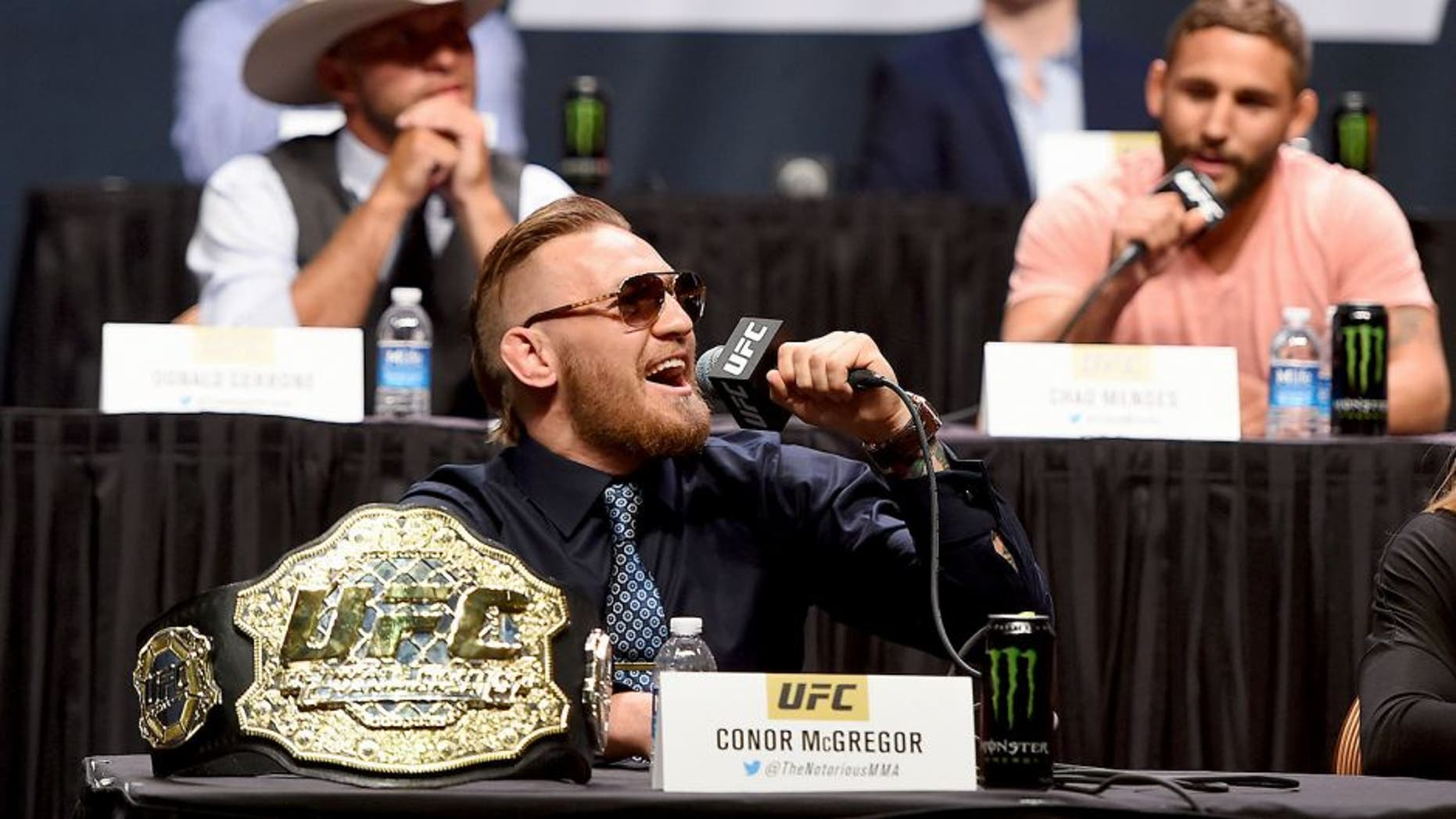 LAS VEGAS, NV - SEPTEMBER 04: UFC featherweight interim champion Conor McGregor speaks to the media and fans during the UFC's Go Big launch event inside MGM Grand Garden Arena on September 4, 2015 in Las Vegas, Nevada. (Photo by Josh Hedges/Zuffa LLC/Zuffa LLC via Getty Images)