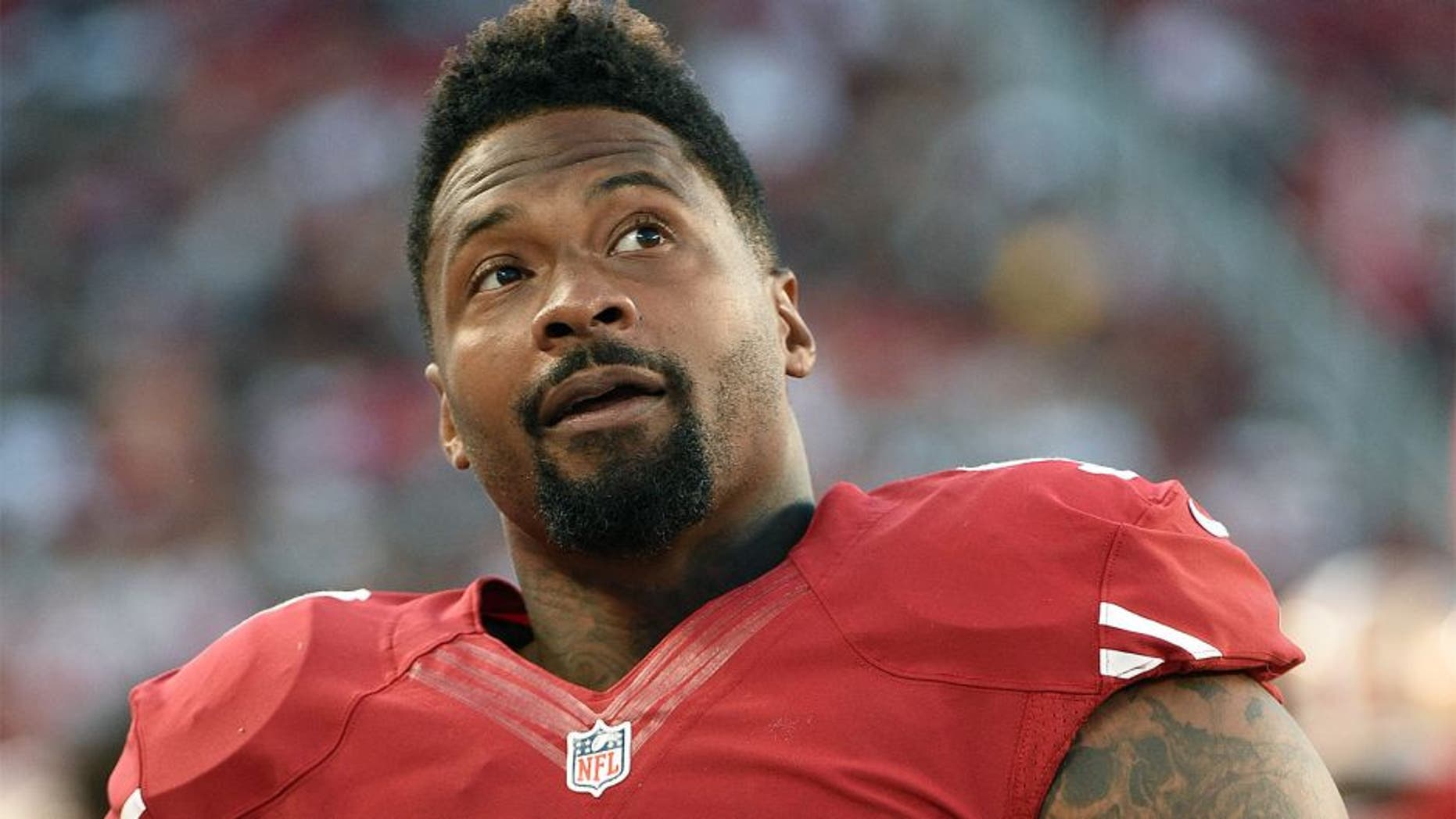 August 23, 2015; Santa Clara, CA, USA; San Francisco 49ers defensive tackle Darnell Dockett (90) during the fourth quarter against the Dallas Cowboys at Levi's Stadium. The 49ers defeated the Cowboys 23-6. Mandatory Credit: Kyle Terada-USA TODAY Sports