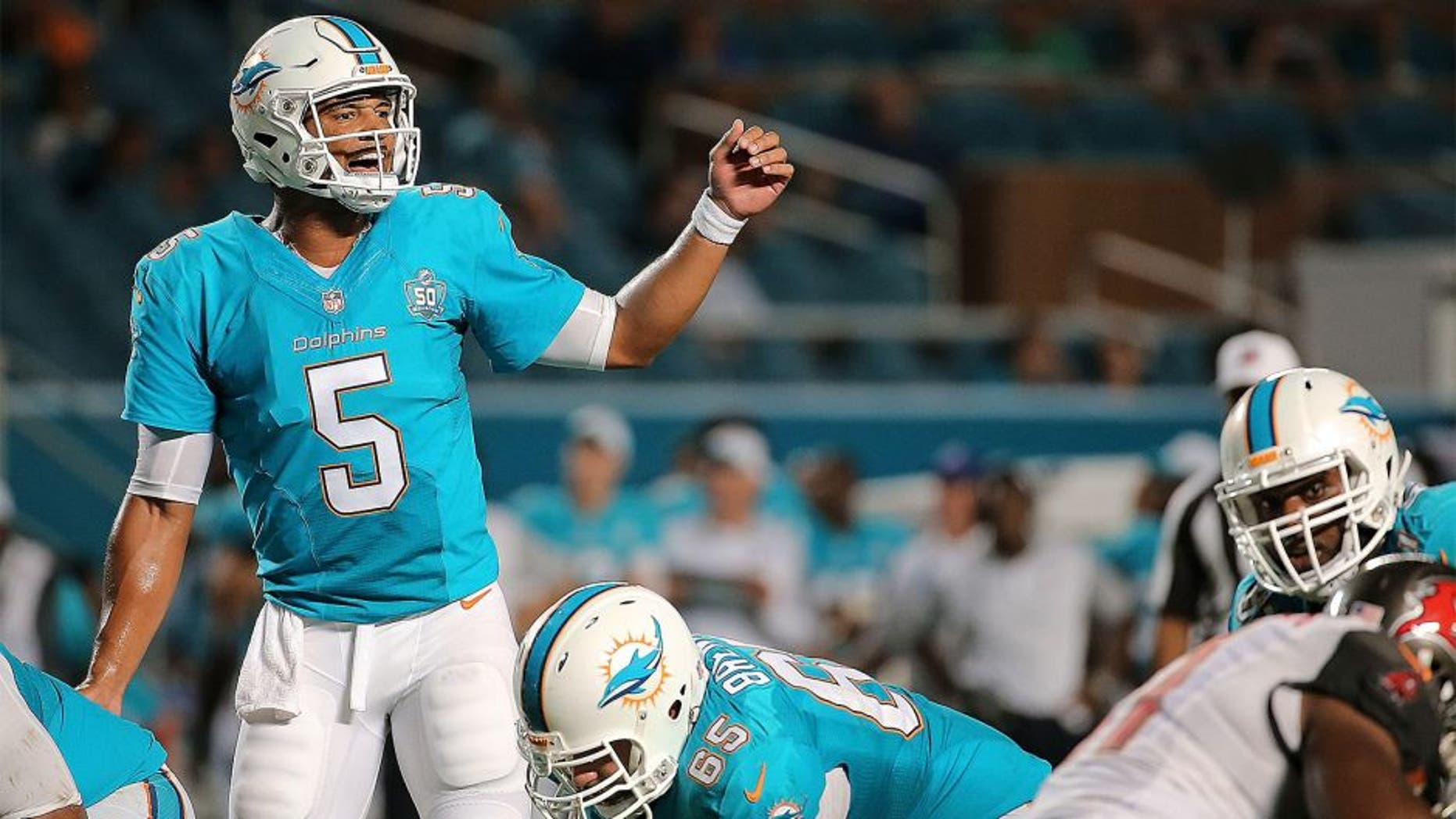 MIAMI GARDENS, FL - SEPTEMBER 03: Josh Freeman #5 of the Miami Dolphins calls a play during a preseason game against the Tampa Bay Buccaneers at Sun Life Stadium on September 3, 2015 in Miami Gardens, Florida. (Photo by Mike Ehrmann/Getty Images)
