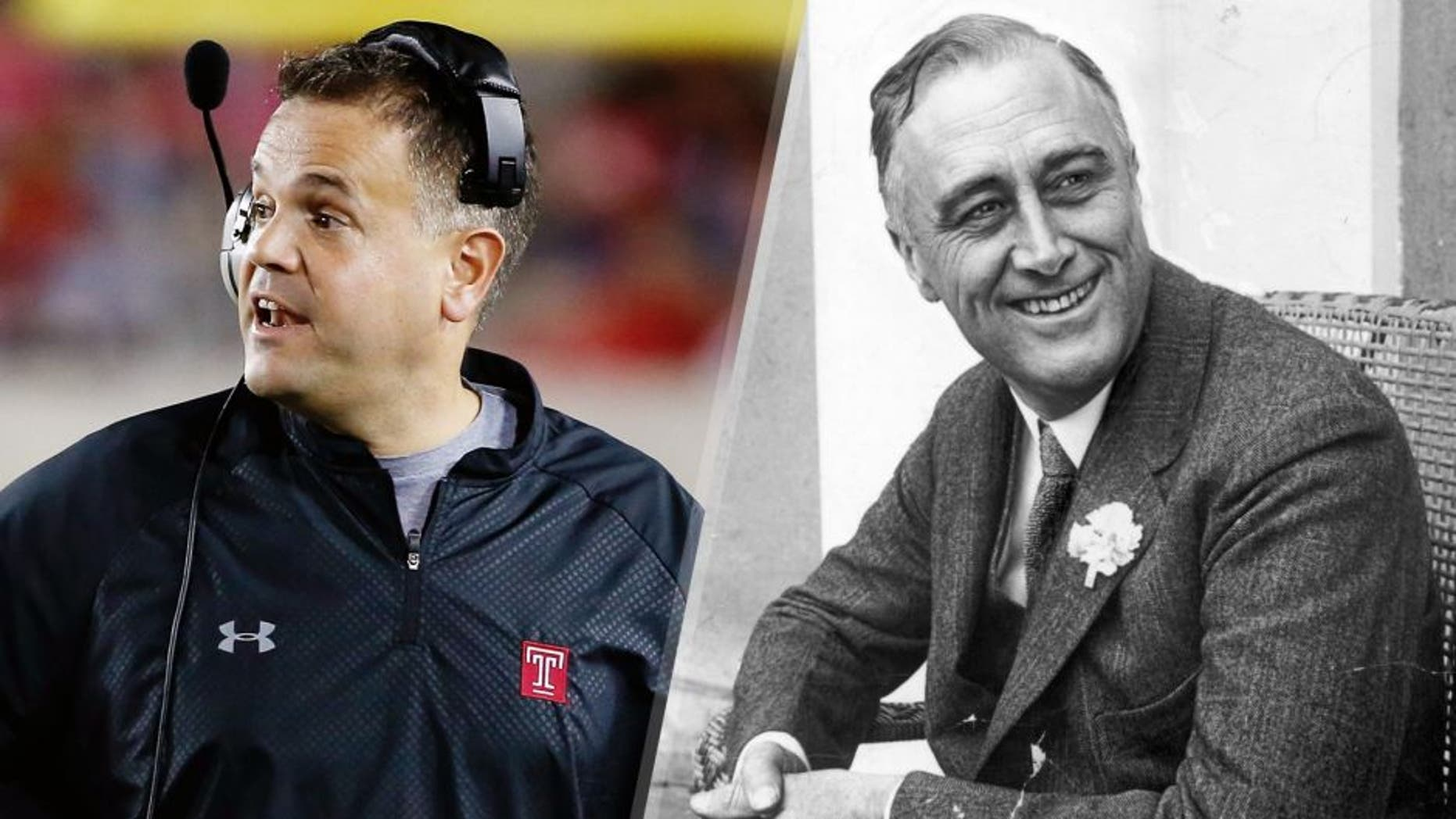 HOUSTON, TX - OCTOBER 17: Head coach Matt Rhule of the Temple Owls walks near the sideline the field in the first half of their game against the Houston Cougars at TDECU Stadium on October 17, 2014 in Houston, Texas. (Photo by Scott Halleran/Getty Images) 1st June 1928: American statesman Franklin Delano Roosevelt (1882 - 1945) smiling when he heard that he was leading the contest for Governor of New York State. He later became the 32nd President of the USA. (Photo by Hulton Archive/Getty Images)