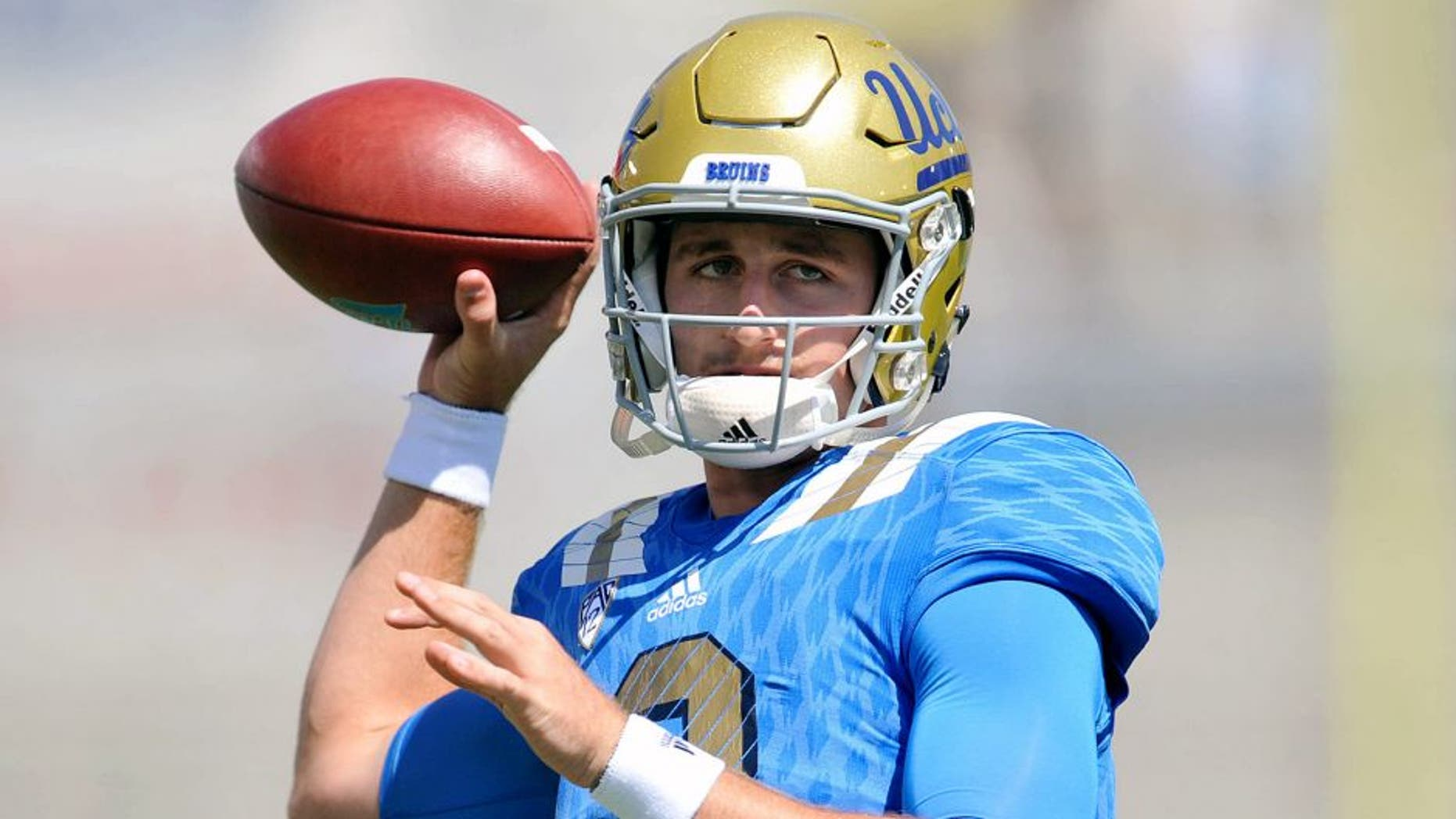 September 5, 2015; Pasadena, CA, USA; UCLA Bruins quarterback Josh Rosen (3) before playing against the Virginia Cavaliers at the Rose Bowl. Mandatory Credit: Gary A. Vasquez-USA TODAY Sports