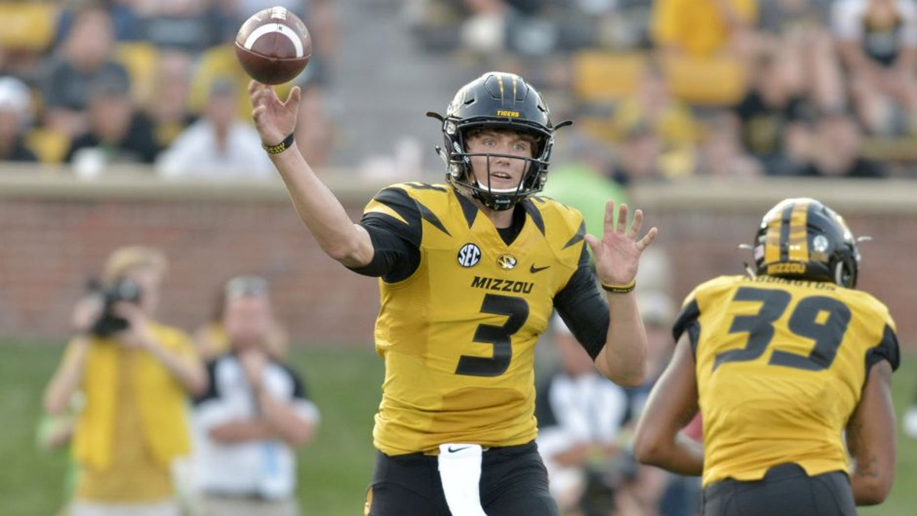 Sep 5, 2015; Columbia, MO, USA; Missouri Tigers quarterback Drew Lock (3) throws a pass during the second half against the Southeast Missouri State Redhawks at Faurot Field. Missouri won 34-3. Mandatory Credit: Denny Medley-USA TODAY Sports