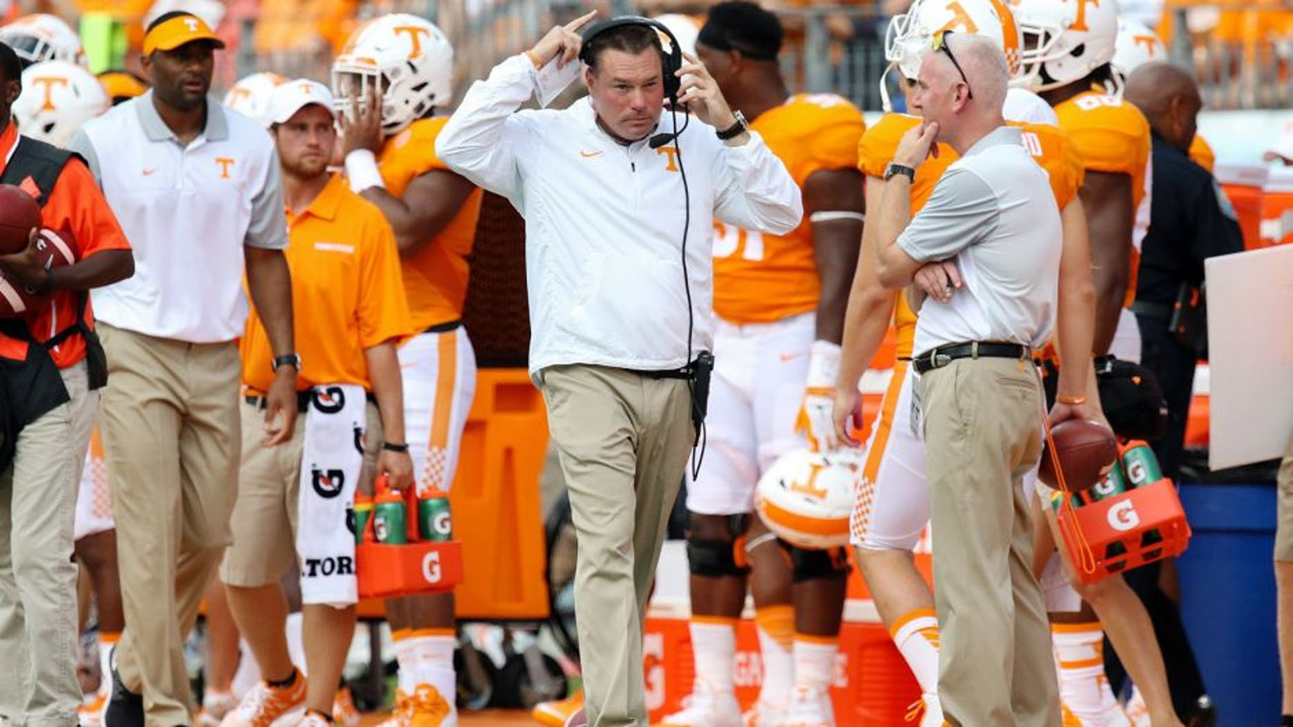 Sep 5, 2015; Nashville, TN, USA; Tennessee Volunteers head coach Butch Jones during the first quarter of the game against the Bowling Green Falcons at Nissan Stadium. Mandatory Credit: Randy Sartin-USA TODAY Sports
