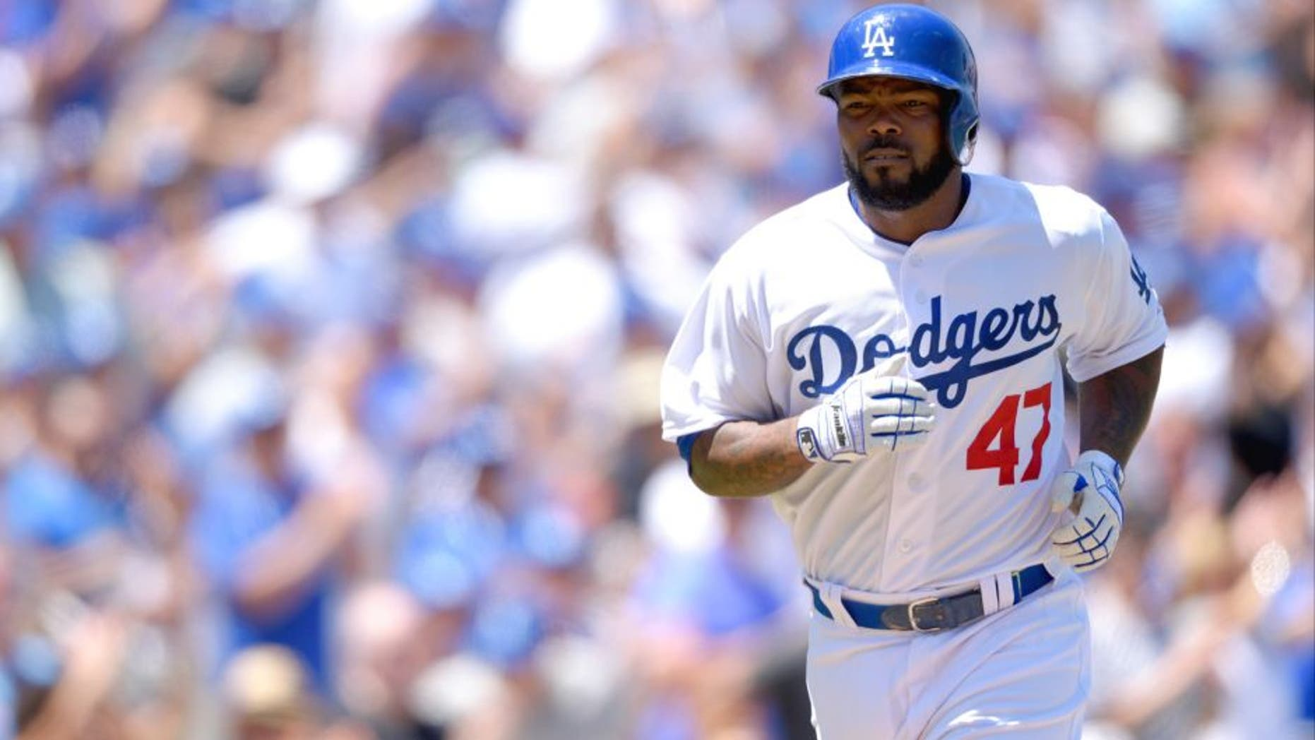 LOS ANGELES, CA - AUGUST 2: Howie Kendrick #47 of the Los Angeles Dodgers runs during the game against the Los Angeles Angels of Anaheim at Dodger Stadium on August 2, 2015 in Los Angeles, California. (Photo by Matt Brown/Angels Baseball LP/Getty Images)
