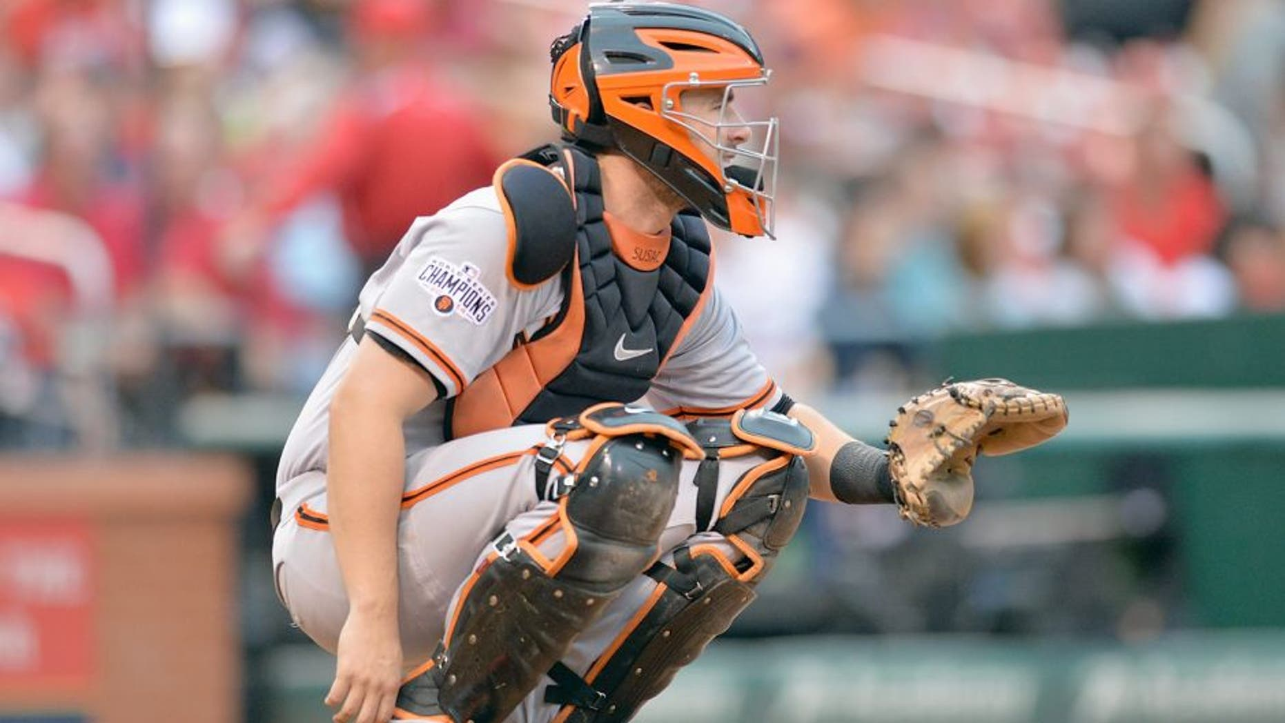 ST. LOUIS, MO - AUGUST 19: Andrew Susac #34 of the San Francisco Giants throws during a game against the St. Louis Cardinals at Busch Stadium on August 19, 2015 in St. Louis, Missouri. (Photo by Michael Thomas/Getty Images)