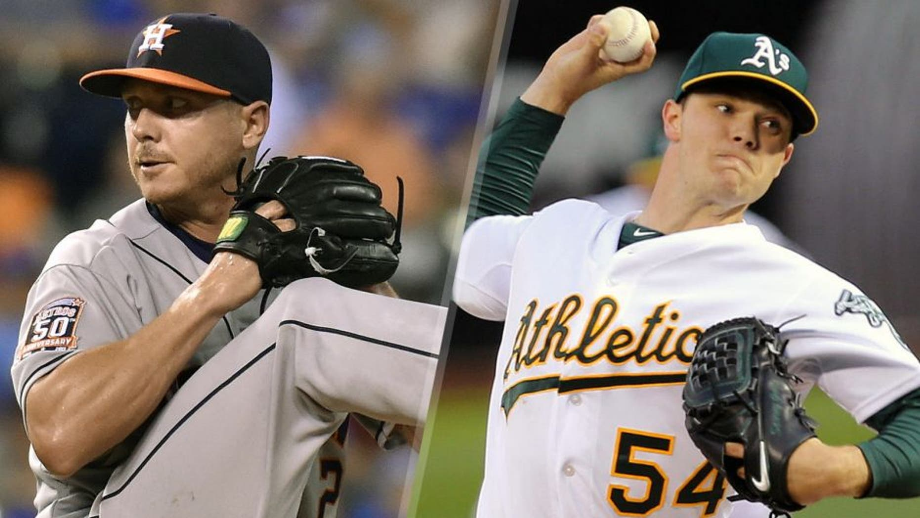 LEFT: https://author.prod1.foxsports.com/damadmin#/content/dam/fsdigital/fscom/other/images/2015/07/30/ScottKazmirDD7-30.jpg RIGHT: Apr 6, 2015; Oakland, CA, USA; Oakland Athletics starting pitcher Sonny Gray (54) throws out the first pitch against the Texas Rangers during the first inning at O.co Coliseum. Mandatory Credit: Kelley L Cox-USA TODAY Sports