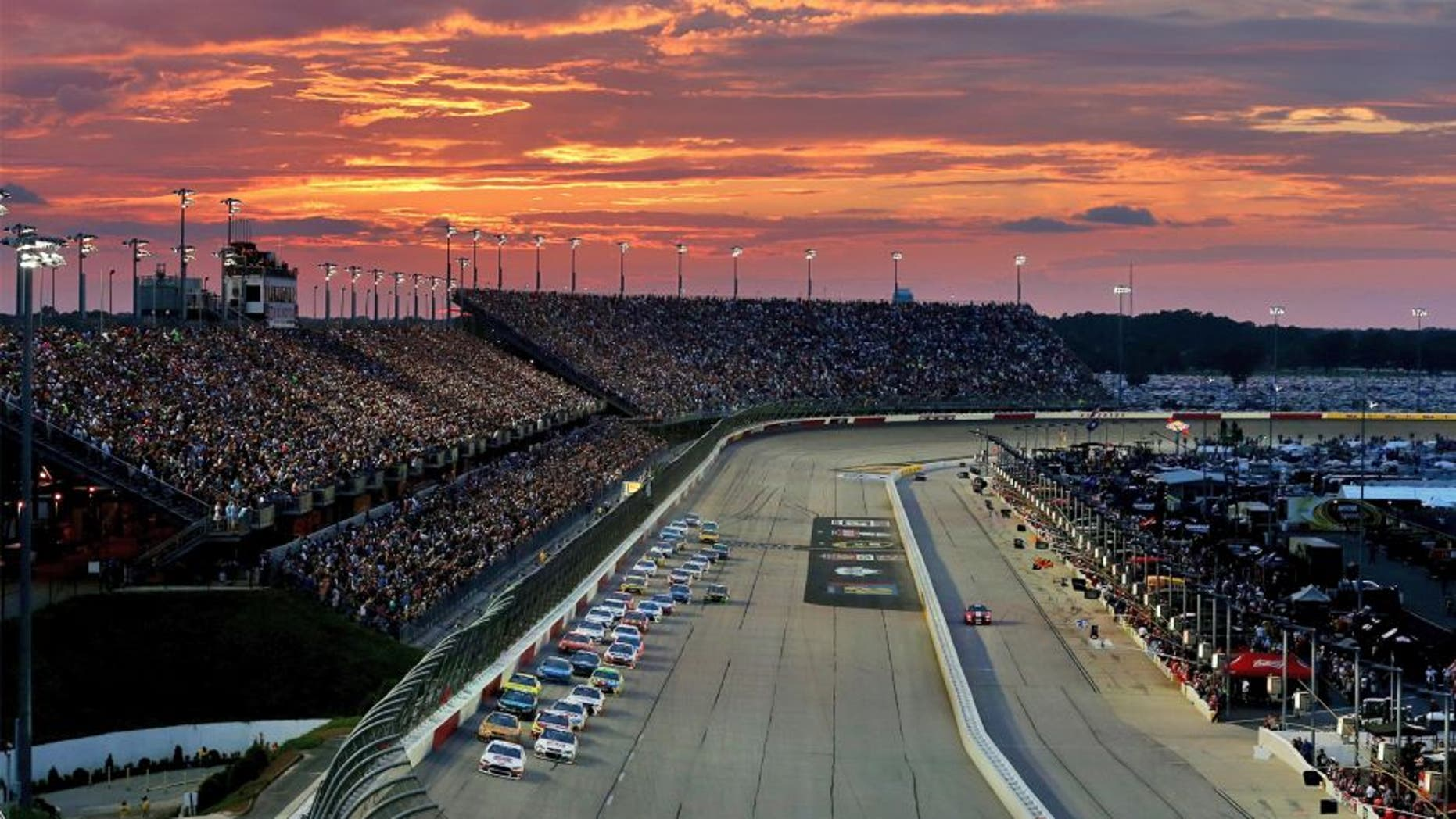 DARLINGTON, SC - SEPTEMBER 06: Brad Keselowski, driver of the #2 Miller High Life Ford, leads the field on a restart during the NASCAR Sprint Cup Series Bojangles' Southern 500 at Darlington Raceway on September 6, 2015 in Darlington, South Carolina. (Photo by Sarah Crabill/NASCAR via Getty Images)