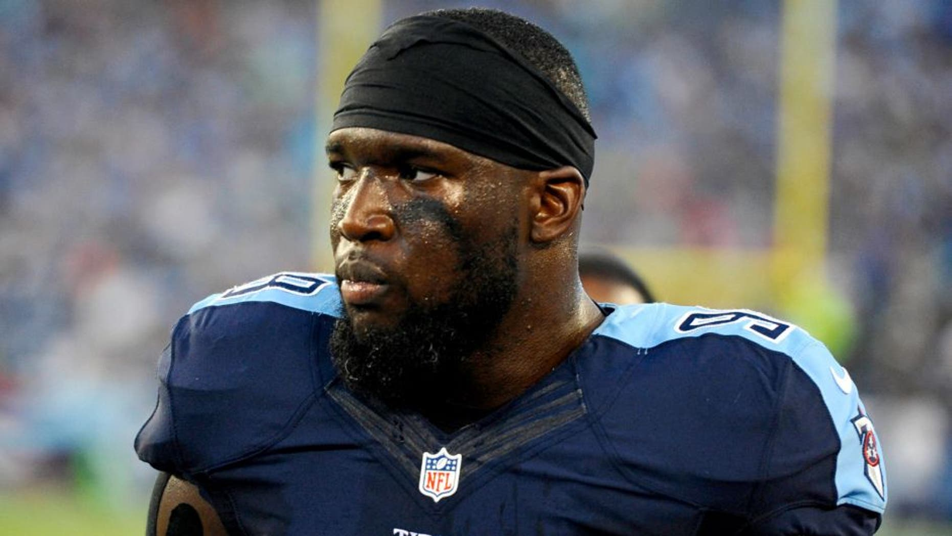 Aug 23, 2015; Nashville, TN, USA; Tennessee Titans linebacker Brian Orakpo (98) during the first half against the St. Louis Rams at Nissan Stadium. Mandatory Credit: Christopher Hanewinckel-USA TODAY Sports