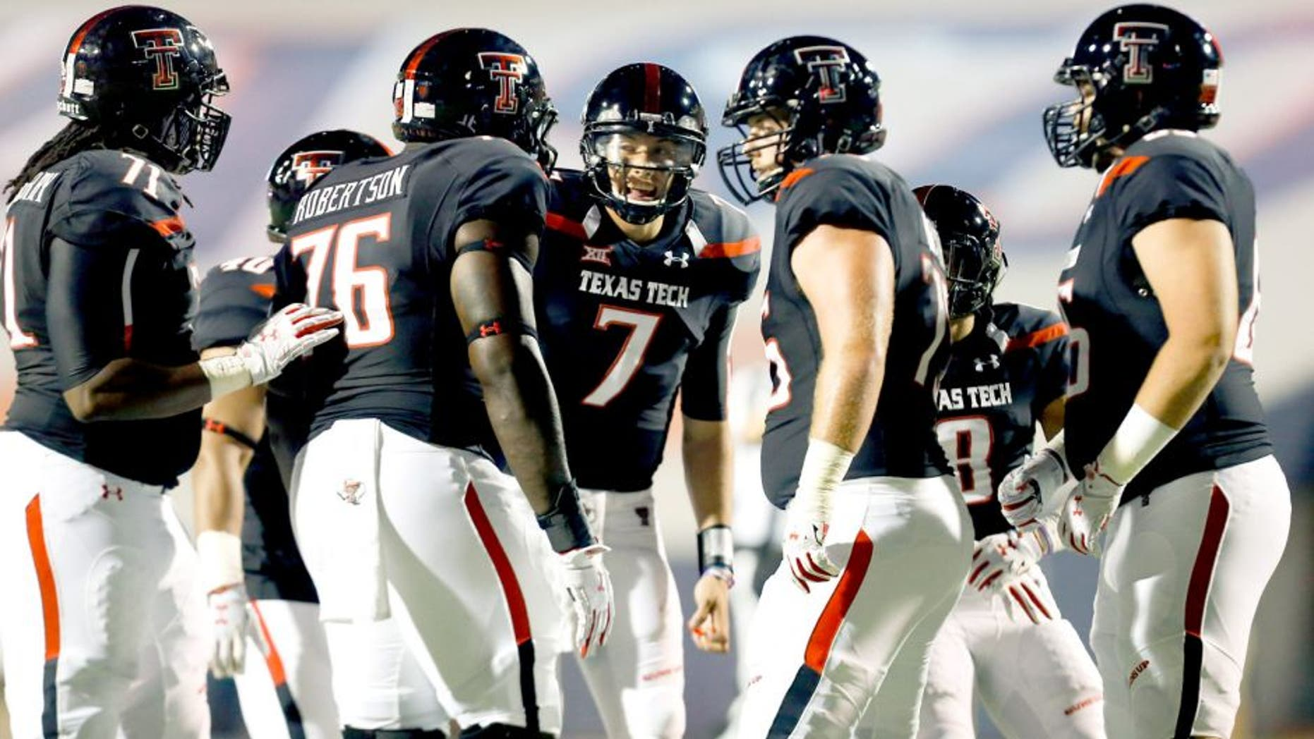 Sep 6, 2014; El Paso, TX, USA; Texas Tech Red Raiders quarterback Davis Webb (7) calls a play to his offense as they face the UTEP Miners defense at Sun Bowl Stadium. Mandatory Credit: Ivan Pierre Aguirre-USA TODAY Sports