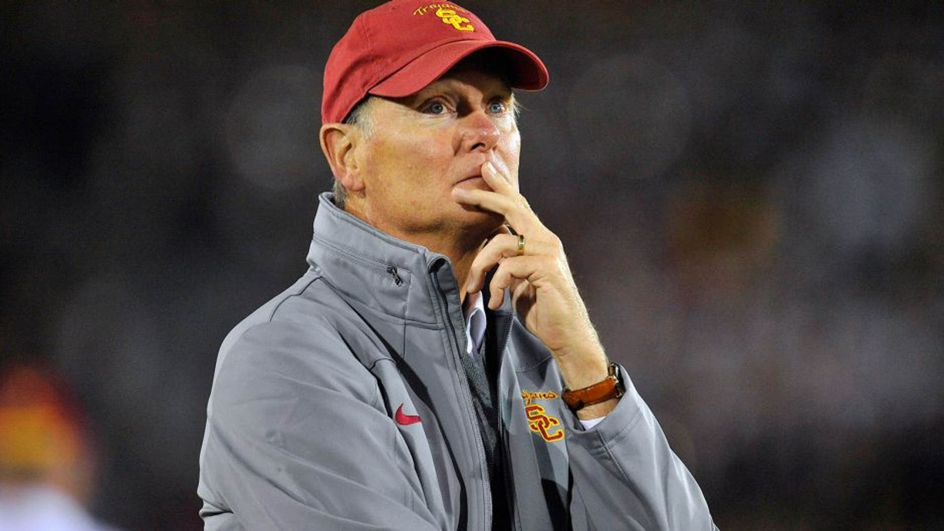 October 10, 2013; Los Angeles, CA, USA; Southern California Trojans athletic director Pat Haden watches game action against the Arizona Wildcats during the second half at the Los Angeles Memorial Coliseum. Mandatory Credit: Gary A. Vasquez-USA TODAY Sports