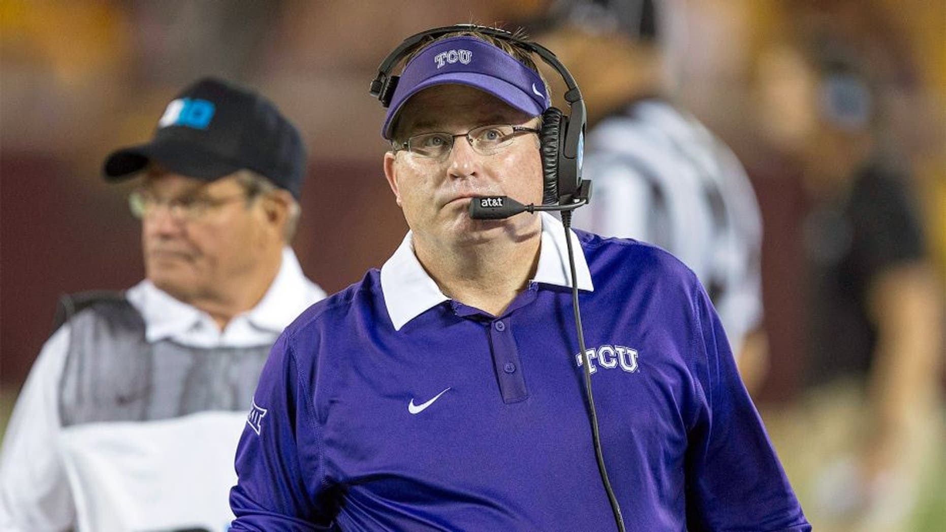 Sep 3, 2015; Minneapolis, MN, USA; TCU Horned Frogs head coach Gary Patterson looks on during the first half against the Minnesota Golden Gophers at TCF Bank Stadium. Mandatory Credit: Jesse Johnson-USA TODAY Sports