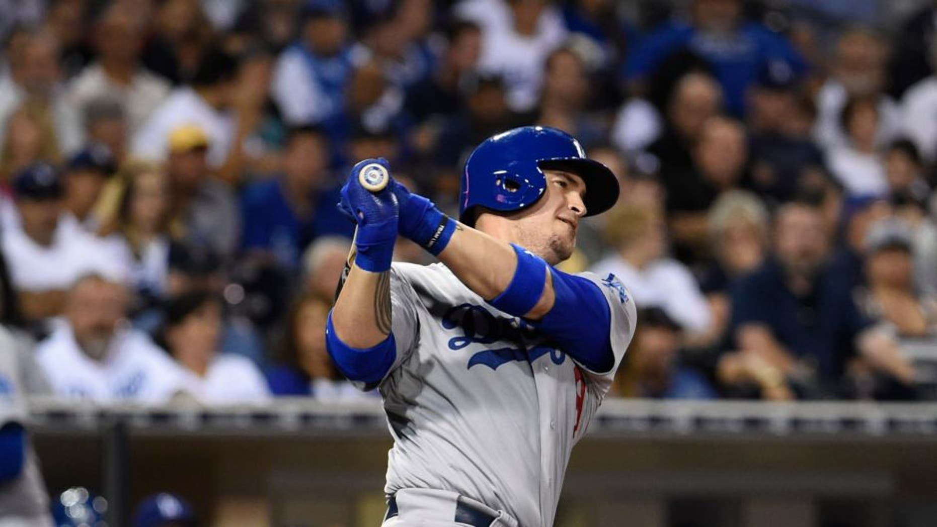 SAN DIEGO, CA - SEPTEMBER 3: Yasmani Grandal #9 of the Los Angeles Dodgers plays during a baseball game against the San Diego Padres at Petco Park September, 3, 2015 in San Diego, California. (Photo by Denis Poroy/Getty Images)