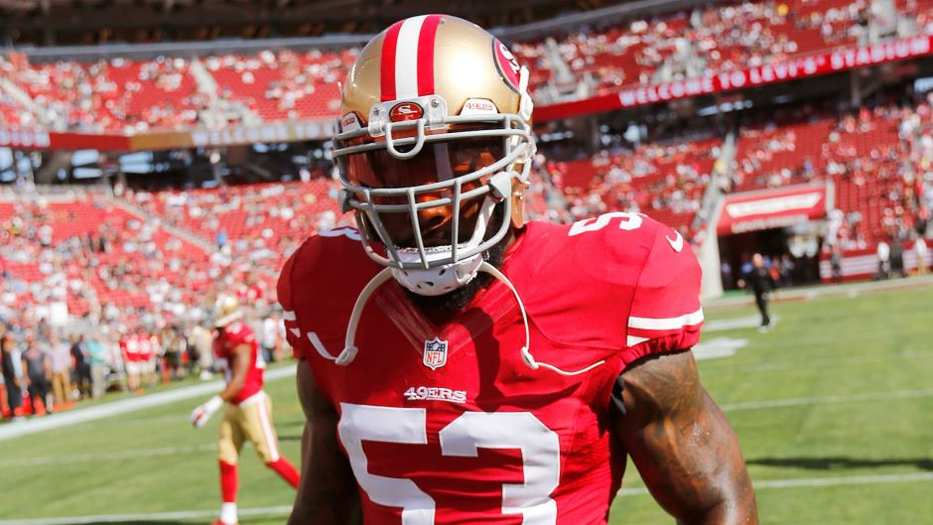 SANTA CLARA, CA - AUGUST 23: NaVorro Bowman #53 of the San Francisco 49ers stands on the field prior to the game against the Dallas Cowboys at Levi Stadium on August 23, 2015 in Santa Clara, California. The 49ers defeated the Cowboys 23-6. (Photo by Michael Zagaris/San Francisco 49ers/Getty Images)