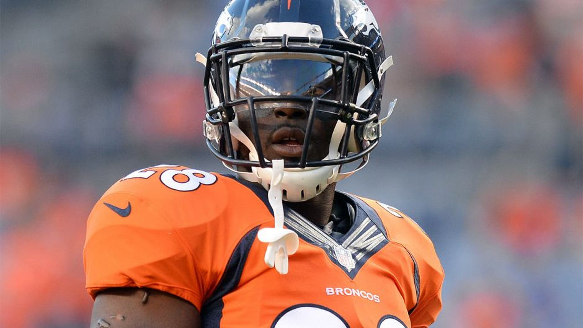 Aug 23, 2014; Denver, CO, USA; Denver Broncos running back Montee Ball (28) before the start of a preseason game against the Houston Texans at Sports Authority Field at Mile High. Mandatory Credit: Ron Chenoy-USA TODAY Sports