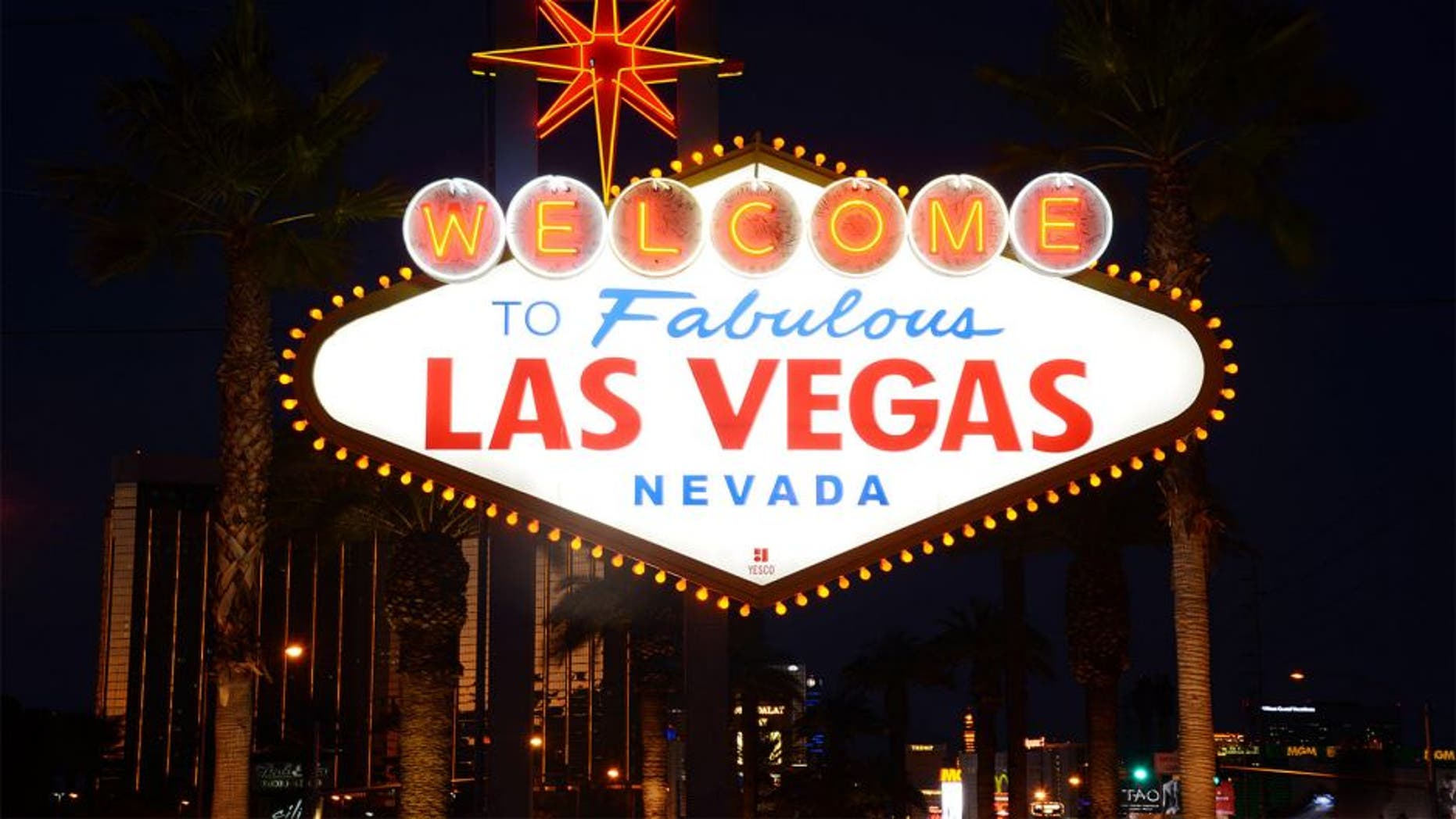 Dec 21, 2013; Las Vegas, NV, USA; General view of the Welcome to Fabulous Las Vegas sign on Las Vegas Blvd. before the Las Vegas Bowl between the Fresno State Bulldogs and the Southern California Trojans. Mandatory Credit: Kirby Lee-USA TODAY Sports