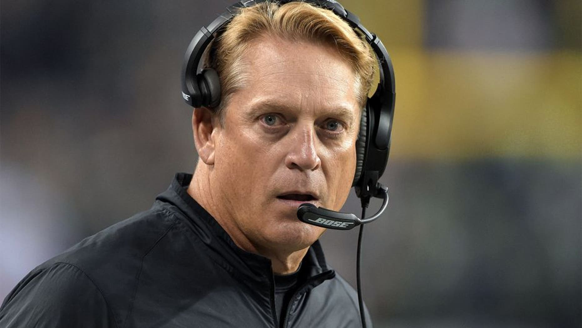 Sep 3, 2015; Seattle, WA, USA; Oakland Raiders coach Jack Del Rio reacts during the preseason game against the Seattle Seahawks at CenturyLink Field. Mandatory Credit: Kirby Lee-USA TODAY Sports