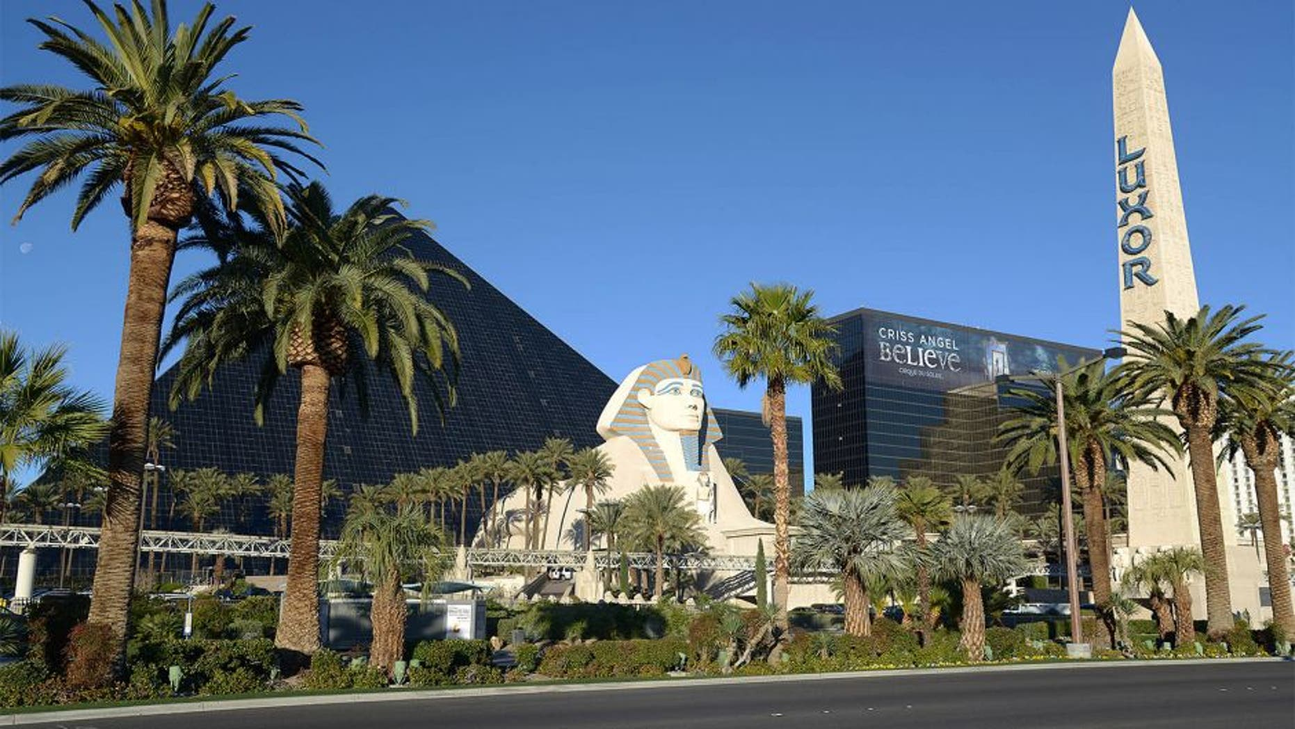 Dec 21, 2013; Las Vegas, NV, USA; General view of the Luxor hotel on the Las Vegas strip on Las Vegas Blvd. before the Las Vegas Bowl between the Fresno State Bulldogs and the Southern California Trojans. Mandatory Credit: Kirby Lee-USA TODAY Sports