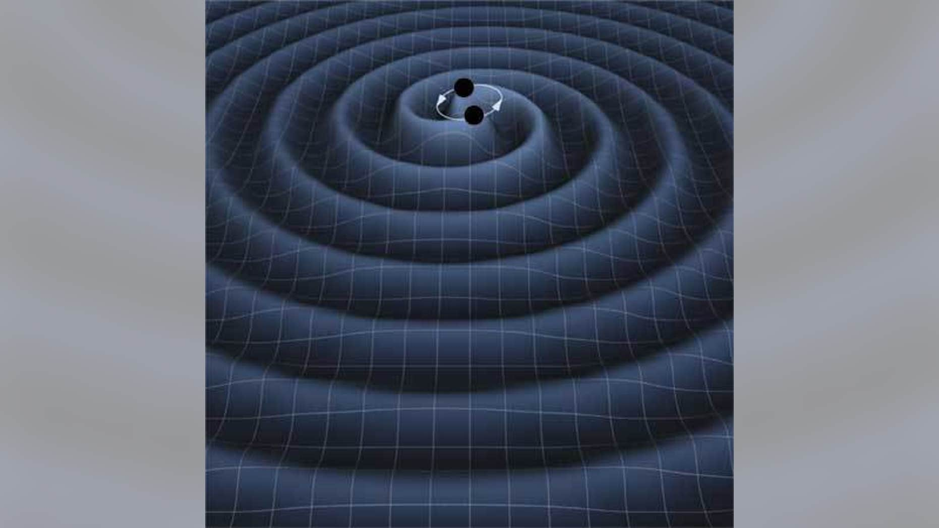 Artist's impression of gravitational waves from two orbiting black holes.