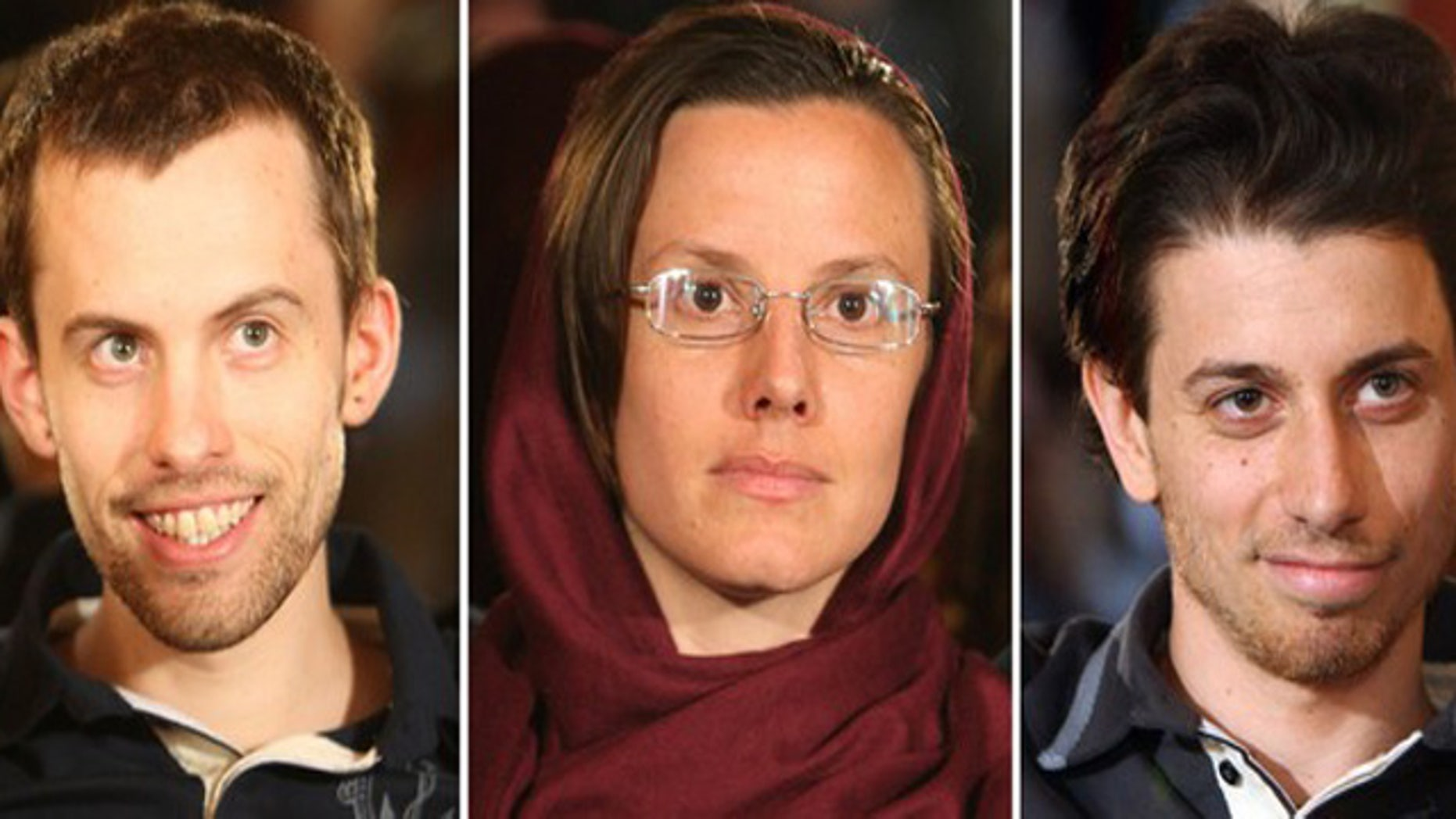 May 20: Detained U.S. hikers (L-R) Shane Bauer, Sarah Shourd and Josh Fattal during a meeting with their mothers in Tehran.