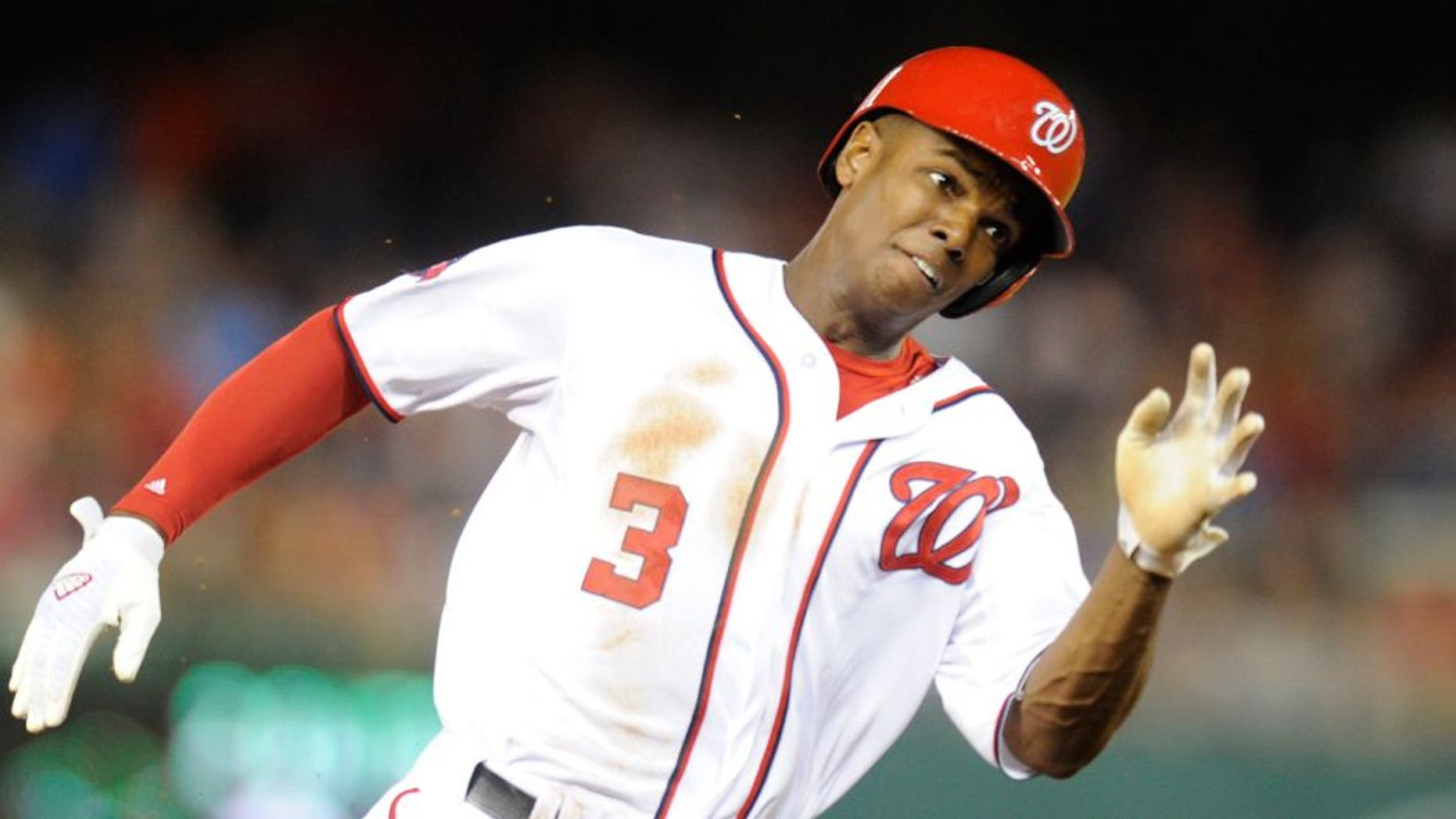 WASHINGTON, DC - JUNE 05: Michael Taylor #3 of the Washington Nationals runs to third base during a baseball game against the Chicago Cubs at Nationals Park on June 5, 2015 in Washington, DC. The Nationals won 7-5. (Photo by Mitchell Layton/Getty Images)