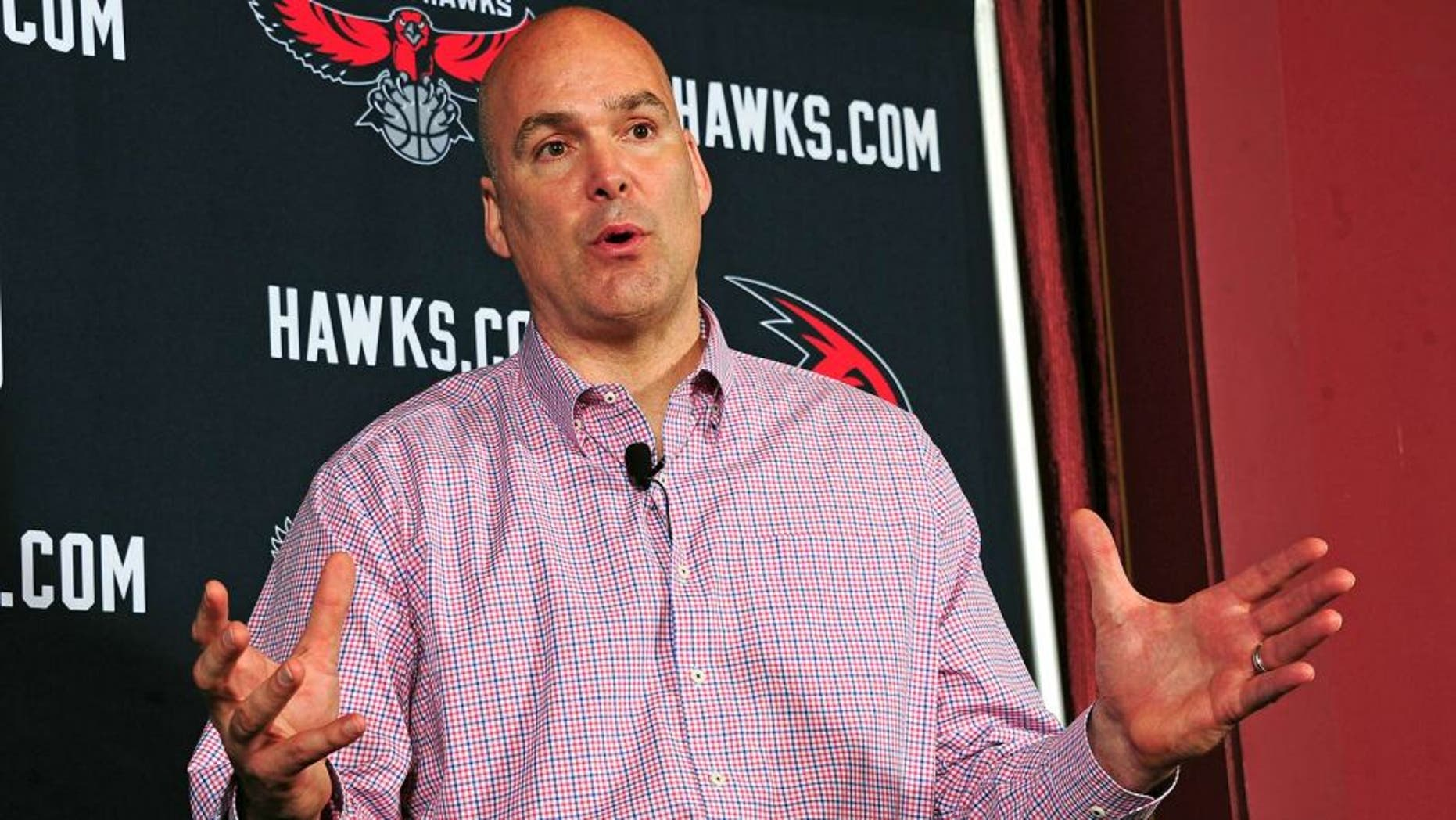 ATLANTA, GA - MAY 29: General Manager Danny Ferry speaks during the press conference introducing Mike Budenholzer as the new Head Coach of the Atlanta Hawks during a press conference on May 29, 2013 at Philips Arena in Atlanta, Georgia. NOTE TO USER: User expressly acknowledges and agrees that, by downloading and/or using this Photograph, user is consenting to the terms and conditions of the Getty Images License Agreement. Mandatory Copyright Notice: Copyright 2013 NBAE (Photo by Scott Cunningham/NBAE via Getty Images)