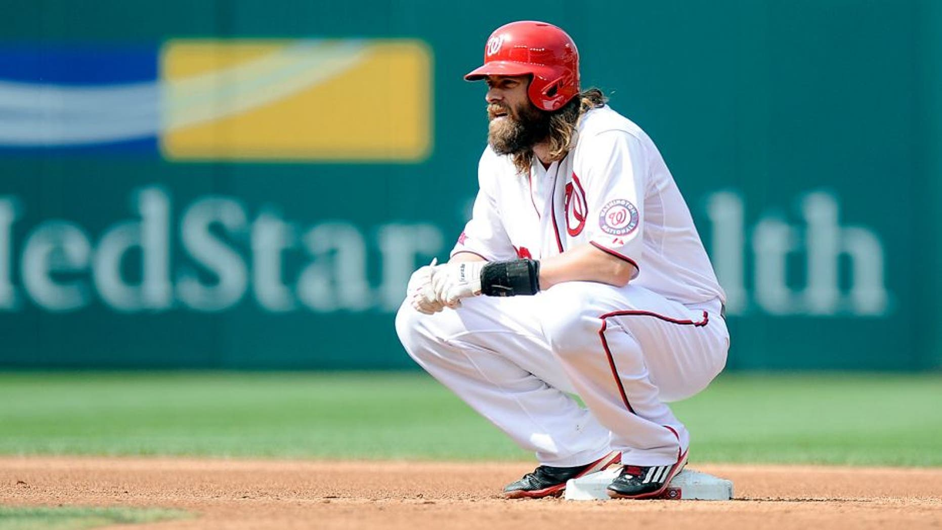 WASHINGTON, DC - AUGUST 30: Jayson Werth #28 of the Washington Nationals rests during a pitching change in the game against the Miami Marlins at Nationals Park on August 30, 2015 in Washington, DC. (Photo by G Fiume/Getty Images)