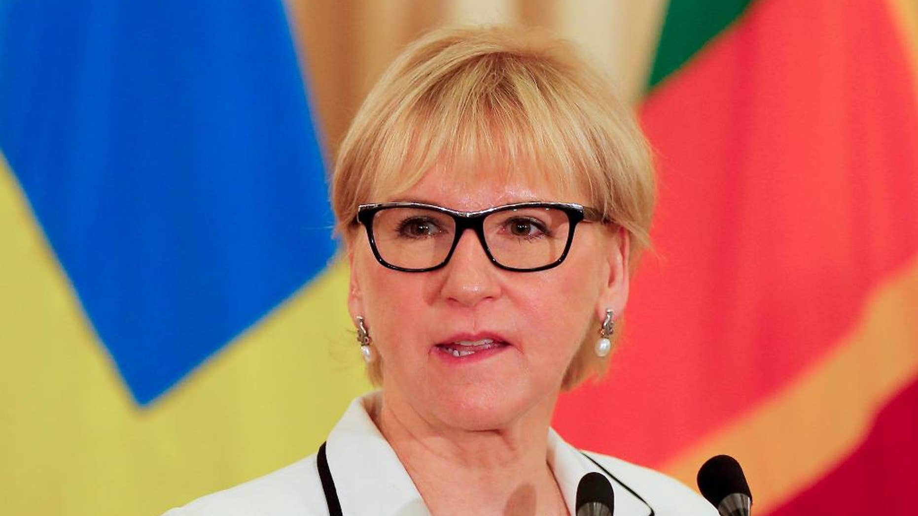 """File -- In this April 25, 2016 file photo, Swedish foreign minister Margot Wallstrom speaks after her meeting with Sri Lankan counterpart Mangala Samaraweera in Colombo, Sri Lanka. In an apparent diplomatic snub, Israel says none of its officials will meet with Wallstrom who arrives for a visit Thursday, Dec. 15, 2016. Israeli Foreign Ministry spokesman cited a """"scheduling issue"""" for the decision not to meet with Wallstrom. It is highly unusual for a visiting high-level dignitary not to meet any Israeli officials. (AP Photo/Eranga Jayawardena, File)"""