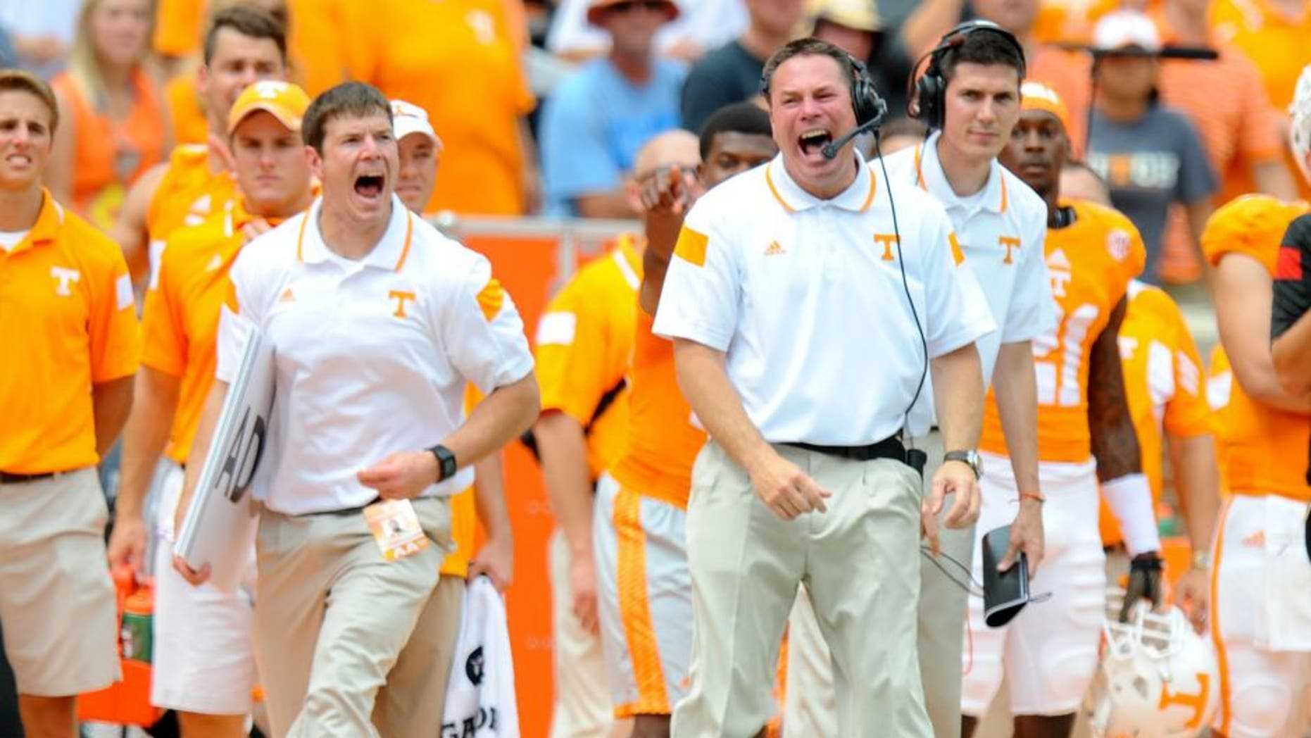 Sep 6, 2014; Knoxville, TN, USA; Tennessee Volunteers head coach Butch Jones during the second quarter against the Arkansas State Red Wolves at Neyland Stadium. Mandatory Credit: Randy Sartin-USA TODAY Sports
