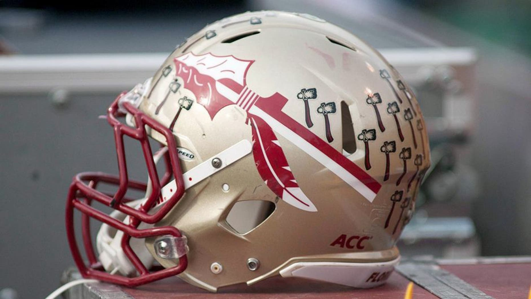 Nov 9, 2013; Winston-Salem, NC, USA; A Florida State Seminoles helmet lays on the sidelines during the game against the Wake Forest Demon Deacons at BB&T Field. Florida State defeated Wake Forest 59-3. Mandatory Credit: Jeremy Brevard-USA TODAY Sports