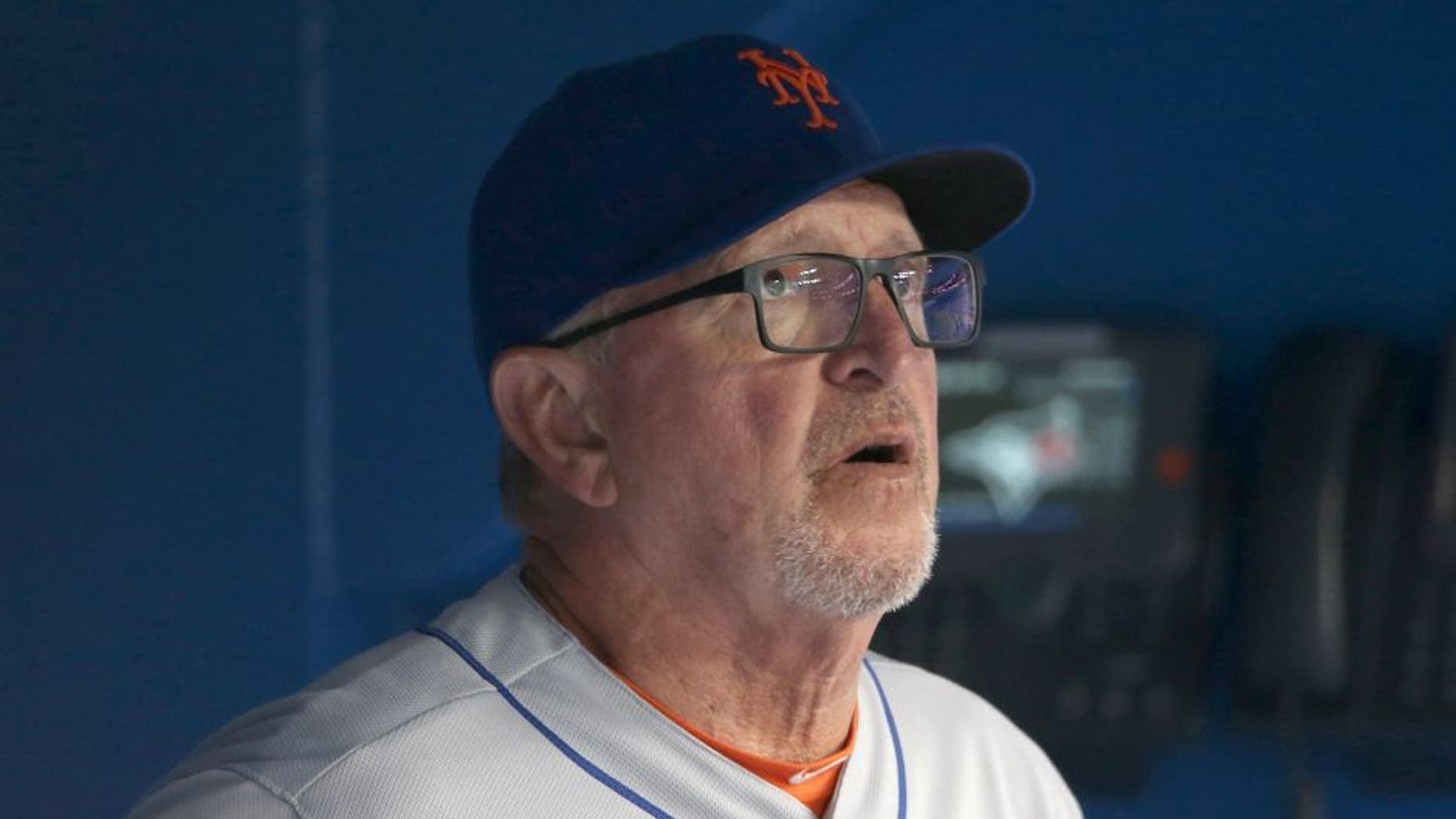 TORONTO, CANADA - JUNE 17: Pitching coach Dan Warthen #59 of the New York Mets looks on from the dugout during an MLB game against the Toronto Blue Jays on June 17, 2015 at Rogers Centre in Toronto, Ontario, Canada. (Photo by Tom Szczerbowski/Getty Images)