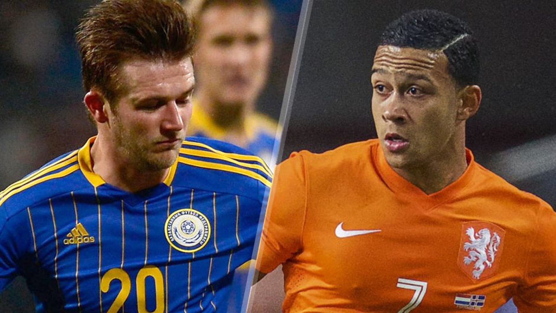 Memphis Depay of Holland during the UEFA Euro 2016 qualifying match between Netherlands and Iceland on September 3, 2015 at the Amsterdam Arena in Amsterdam, The Netherlands.(Photo by VI Images via Getty Images) NUREMBERG, GERMANY - MARCH 26: Mesut Oezil of Germany is challenged by Konstantin Engel of Kazakhstan during the FIFA 2014 World Cup Qualifier match between Germany and Kazakhstan at Grundig-Stadion on March 26, 2013 in Nuremberg, Germany. (Photo by Dennis Grombkowski/Bongarts/Getty Images)