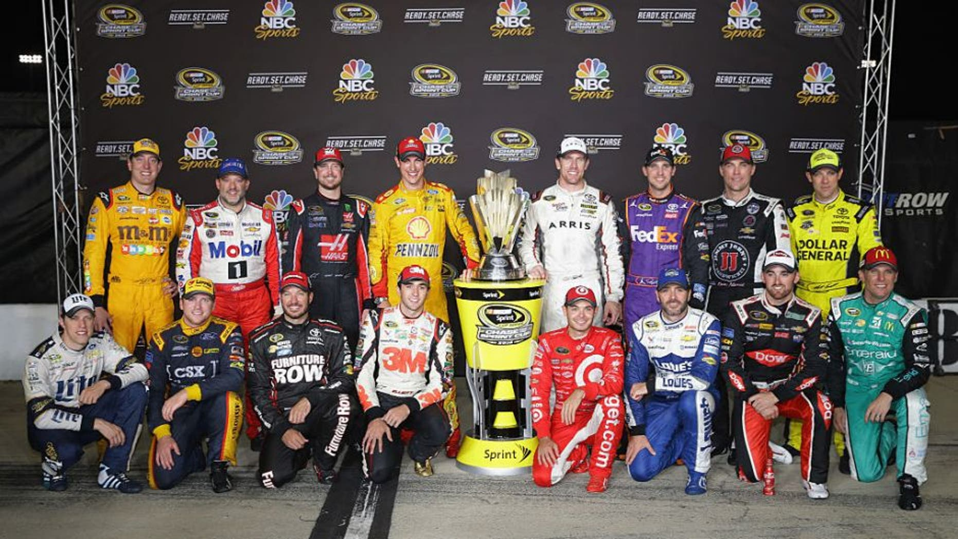 RICHMOND, VA - SEPTEMBER 10: 2016 Chase for the Sprint Cup drivers pose for a photo after the NASCAR Sprint Cup Series Federated Auto Parts 400 at Richmond International Raceway on September 10, 2016 in Richmond, Virginia. (Photo by Chris Graythen/NASCAR via Getty Images)