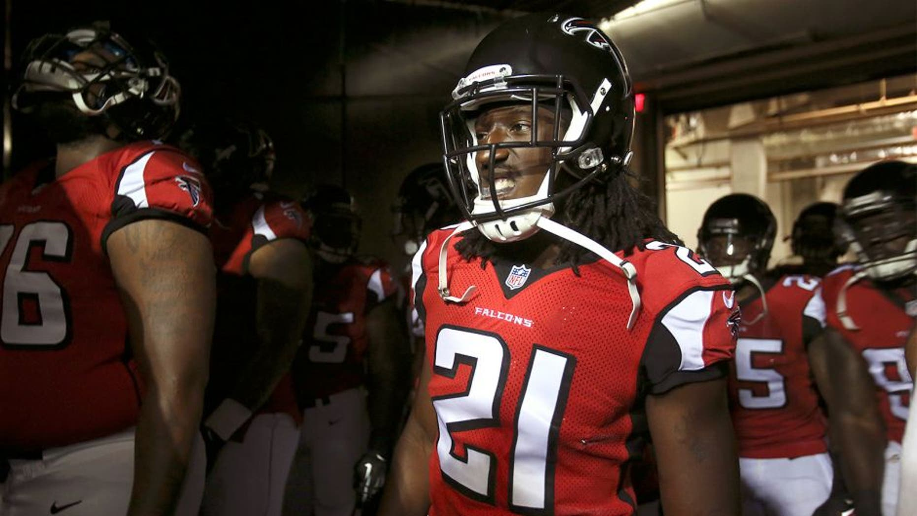 Aug 8, 2014; Atlanta, GA, USA; Atlanta Falcons cornerback Desmond Trufant (21) walks through the tunnel before their game against the Miami Dolphins at the Georgia Dome. The Falcons won 16-10. Mandatory Credit: Jason Getz-USA TODAY Sports