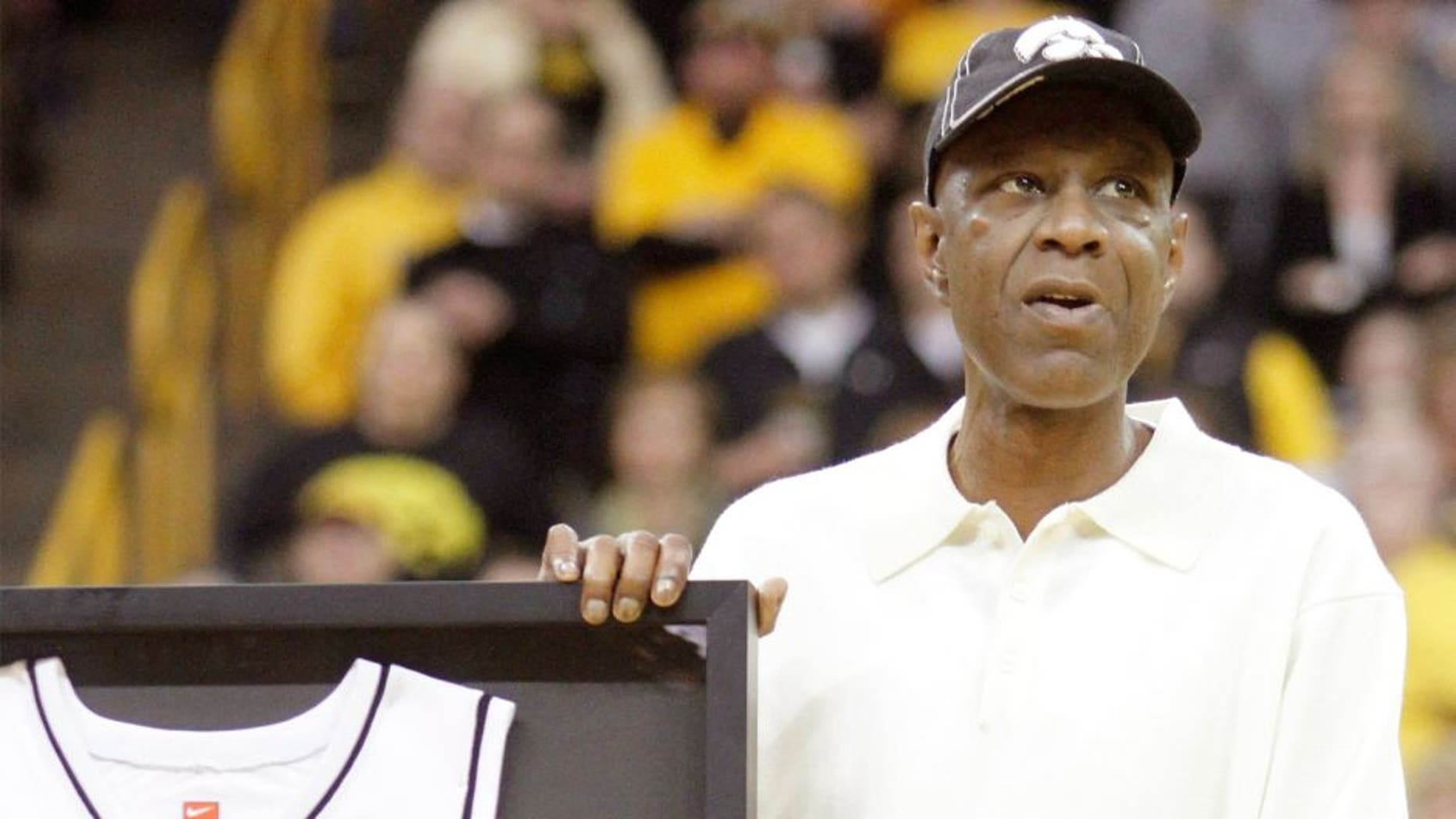 IOWA CITY, IA - MARCH 07: All-time scoring leader Roy Marble of the Iowa Hawkeyes is honored at halftime of the match-up against Northwestern Wildcats on March 7, 2015 at Carver-Hawkeye Arena in Iowa City, Iowa. (Photo by Matthew Holst/Getty Images)