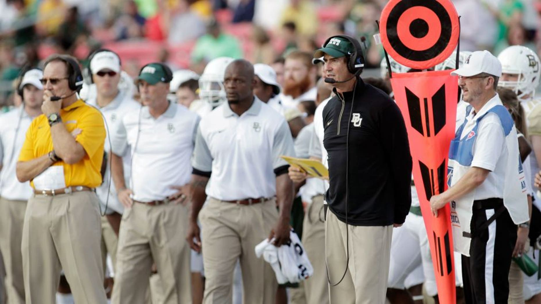 Sep 4, 2015; Dallas, TX, USA; Baylor Bears head coach Art Briles on the sidelines against Southern Methodist University at Gerald J. Ford Stadium. Mandatory Credit: Erich Schlegel-USA TODAY Sports