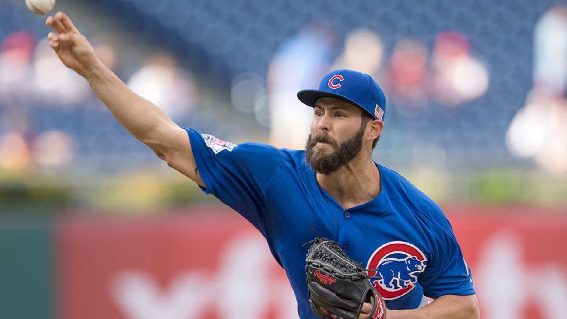PHILADELPHIA, PA - SEPTEMBER 11: Jake Arrieta #49 of the Chicago Cubs throws a pitch in the bottom of the first inning against the Philadelphia Phillies on September 11, 2015 at Citizens Bank Park in Philadelphia, Pennsylvania. (Photo by Mitchell Leff/Getty Images)