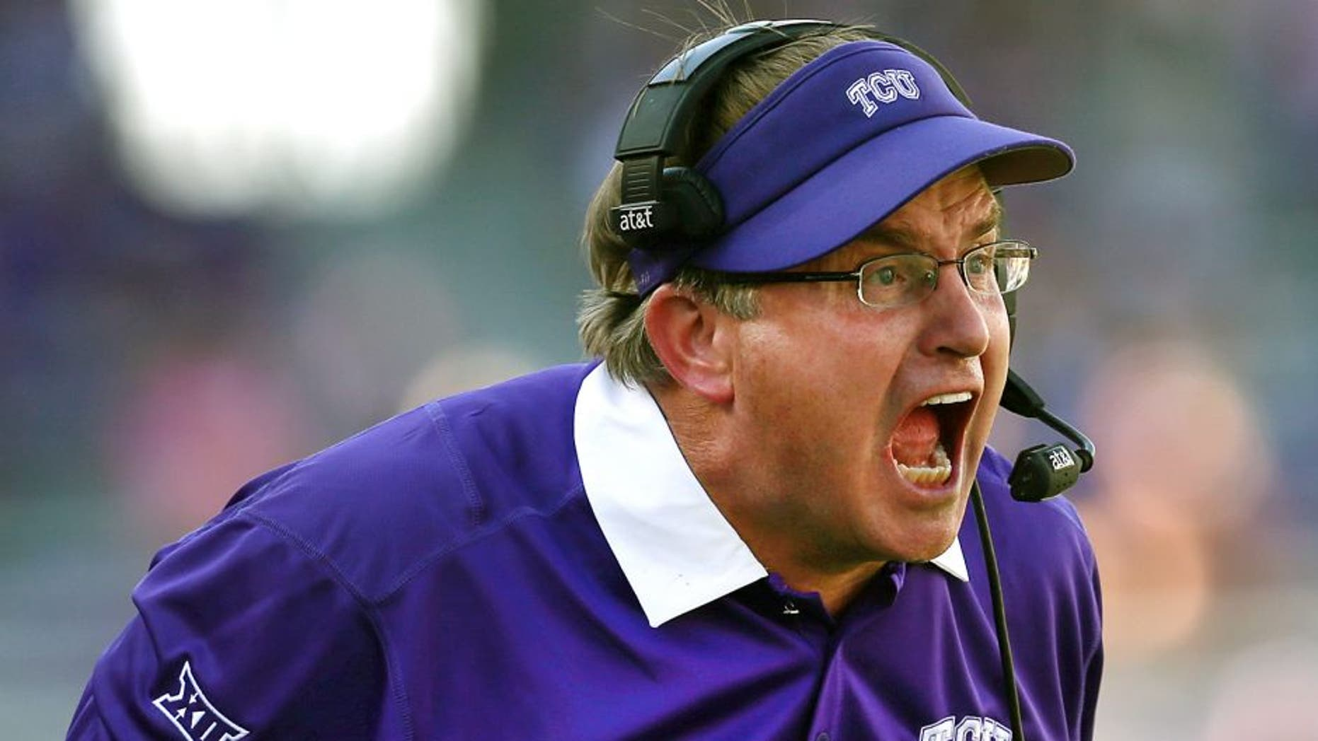 FORT WORTH, TX - SEPTEMBER 12: Head coach Gary Patterson of the TCU Horned Frogs leads his team against the Stephen F. Austin Lumberjacks in the secodn half at Amon G. Carter Stadium on September 12, 2015 in Fort Worth, Texas. (Photo by Tom Pennington/Getty Images)