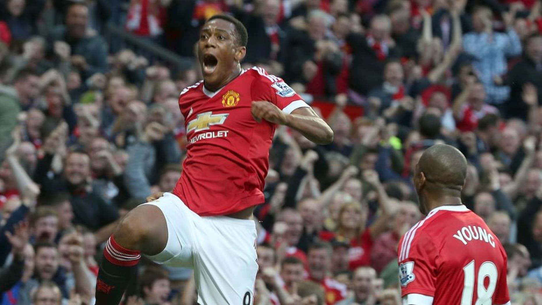 MANCHESTER, ENGLAND - SEPTEMBER 12: Anthony Martial of Manchester United celebrates scoring their third goal during the Barclays Premier League match between Manchester United and Liverpool on September 12, 2015 at Old Trafford in Manchester, United Kingdom. (Photo by Matthew Peters/Man Utd via Getty Images)