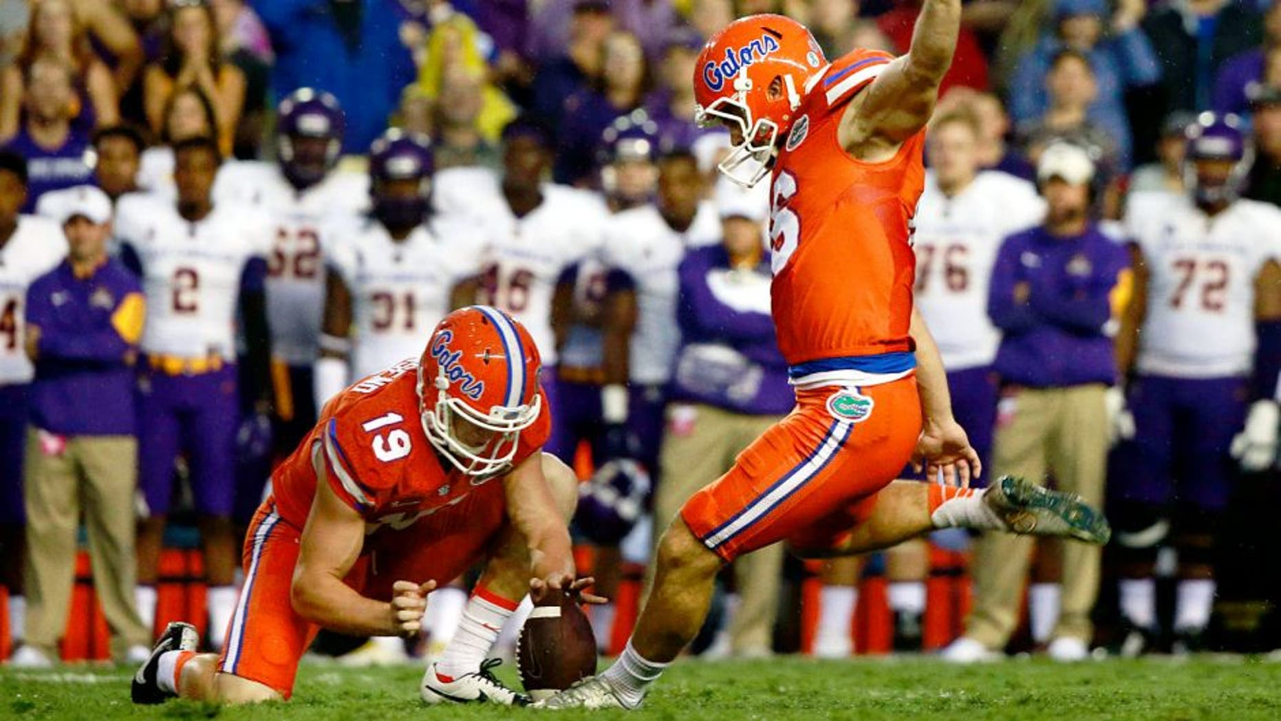 Sep 12, 2015; Gainesville, FL, USA; Florida Gators place kicker Austin Hardin (16) kicks the ball for a field goal during the first quarter against the East Carolina Pirates at Ben Hill Griffin Stadium . Mandatory Credit: Kim Klement-USA TODAY Sports