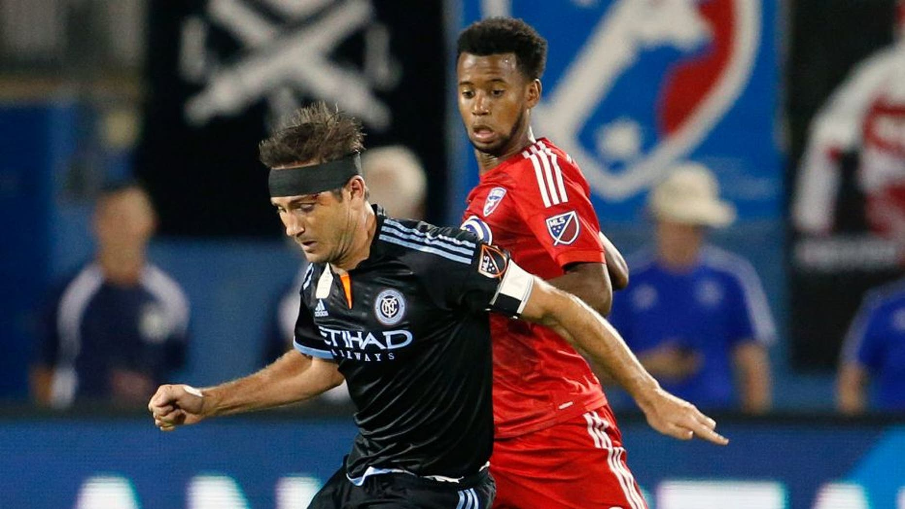 Sep 12, 2015; Dallas, TX, USA; New York City FC midfielder Frank Lampard (8) controls the ball against FC Dallas midfielder Kellyn Acosta (23) in the second half at Toyota Stadium. Dallas beat New York 2-1. Mandatory Credit: Matthew Emmons-USA TODAY Sports