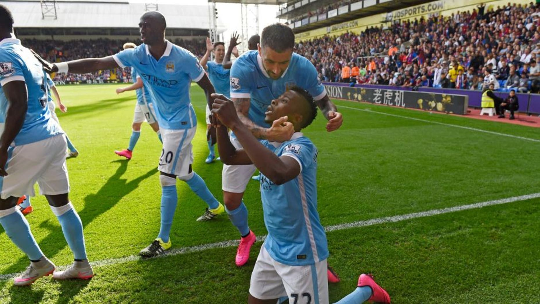LONDON, ENGLAND - SEPTEMBER 12: Kelechi Iheanacho of Manchester City celebrates scoring his team's opening goal during the Barclays Premier League match between Crystal Palace and Manchester City at Selhurst Park on September 12, 2015 in London, United Kingdom. (Photo by Mike Hewitt/Getty Images)