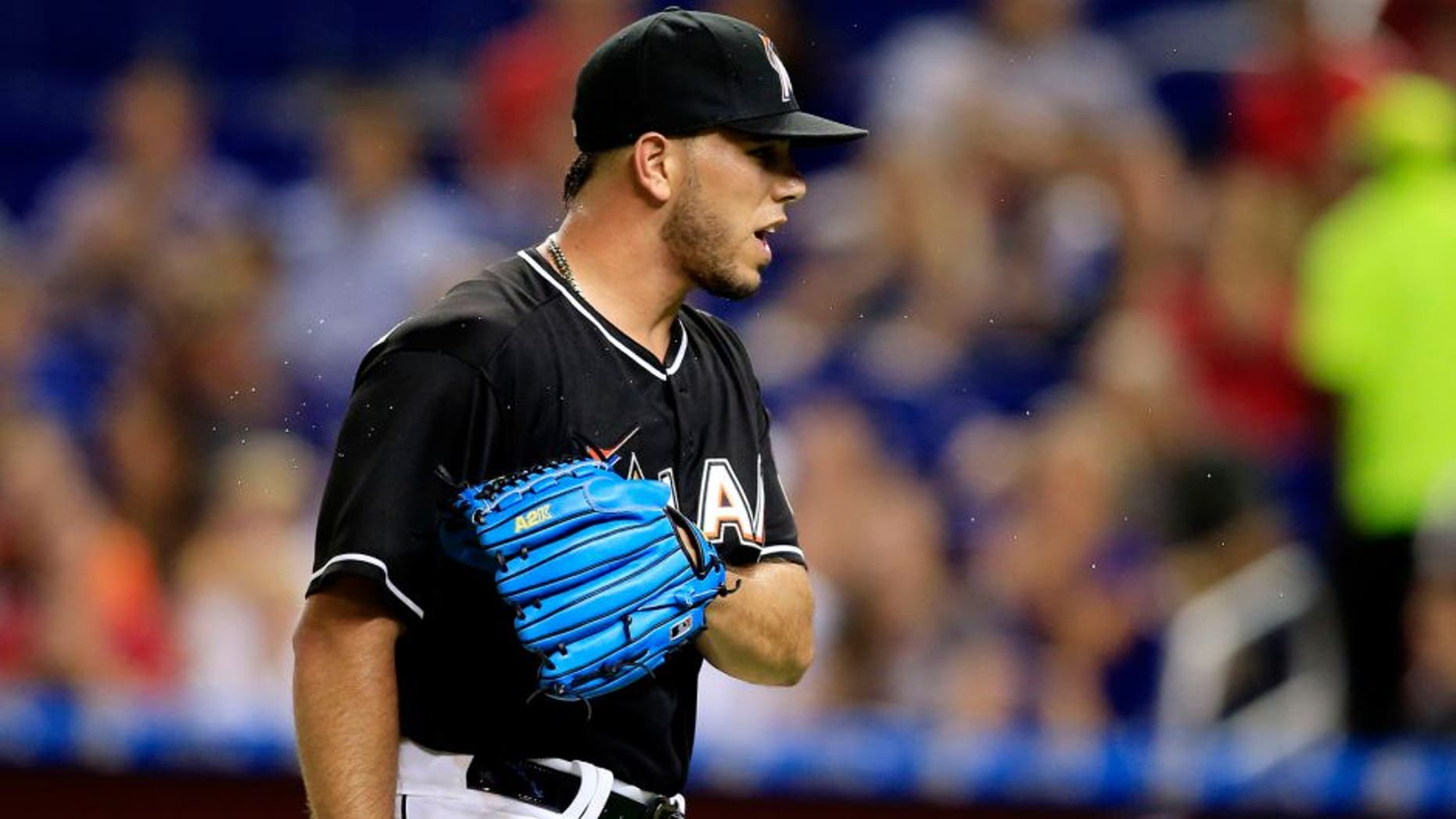 Sep 12, 2015; Miami, FL, USA; Miami Marlins starting pitcher Jose Fernandez reacts in the first inning of a game at Marlins Park. Mandatory Credit: Robert Mayer-USA TODAY Sports